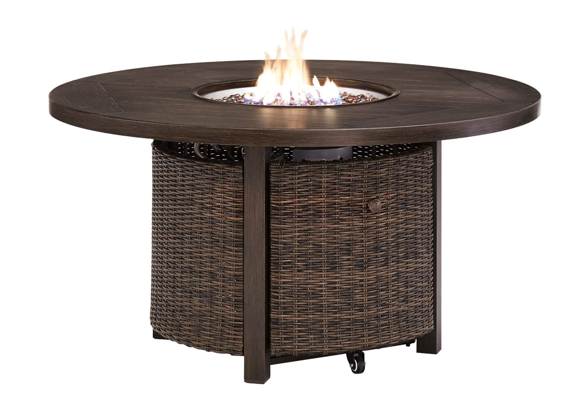 Paradise Trail Brown Round Fire Pit Table,Outdoor By Ashley
