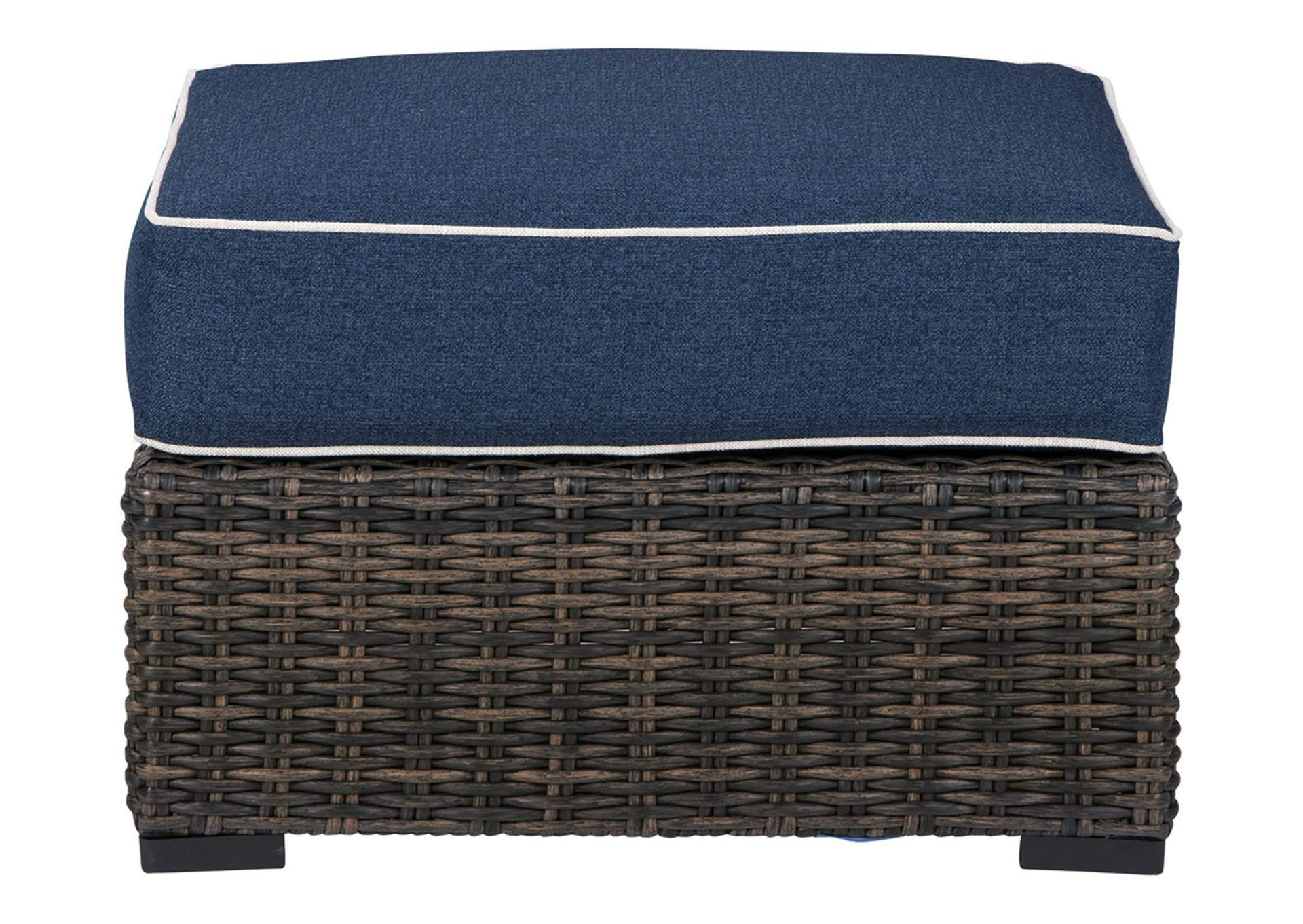 Grasson Lane Brown/Blue Ottoman with Cushion,Outdoor By Ashley