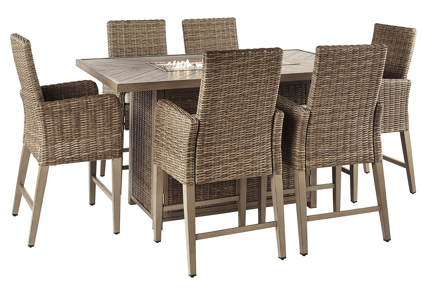 Beachcroft Beige Fire Pit Table w/6 Counter Height Chairs,Outdoor By Ashley