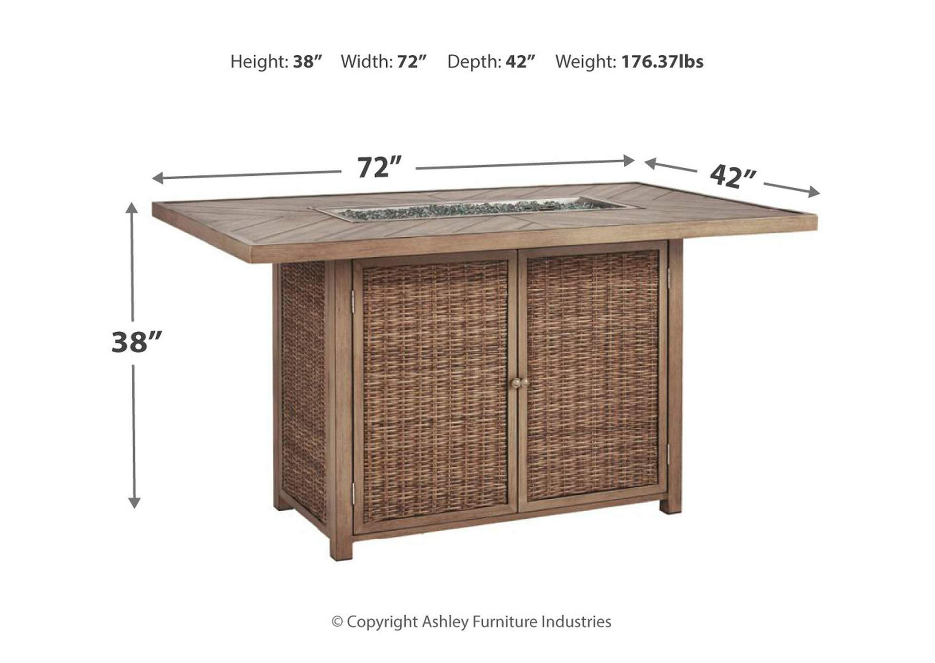 Beachcroft Beige Bar Table w/Fire Pit,Outdoor By Ashley