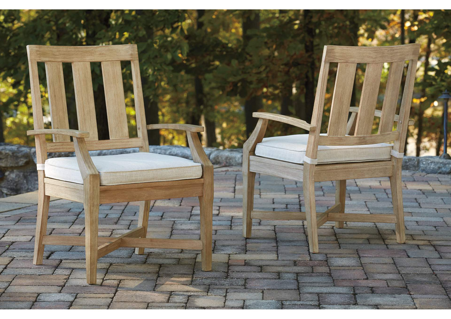 Clare View Beige Arm Chair w/Cushion (Set of 2),Outdoor By Ashley