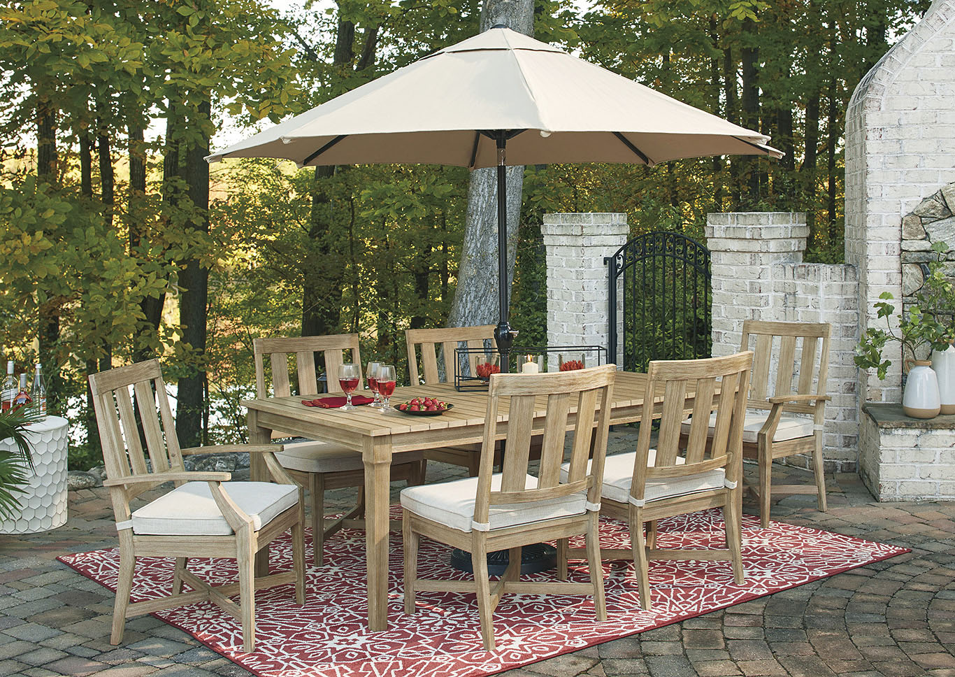 Clare View Beige Dining Table w/4 Side Chairs & 2 Arm Chairs,Outdoor By Ashley