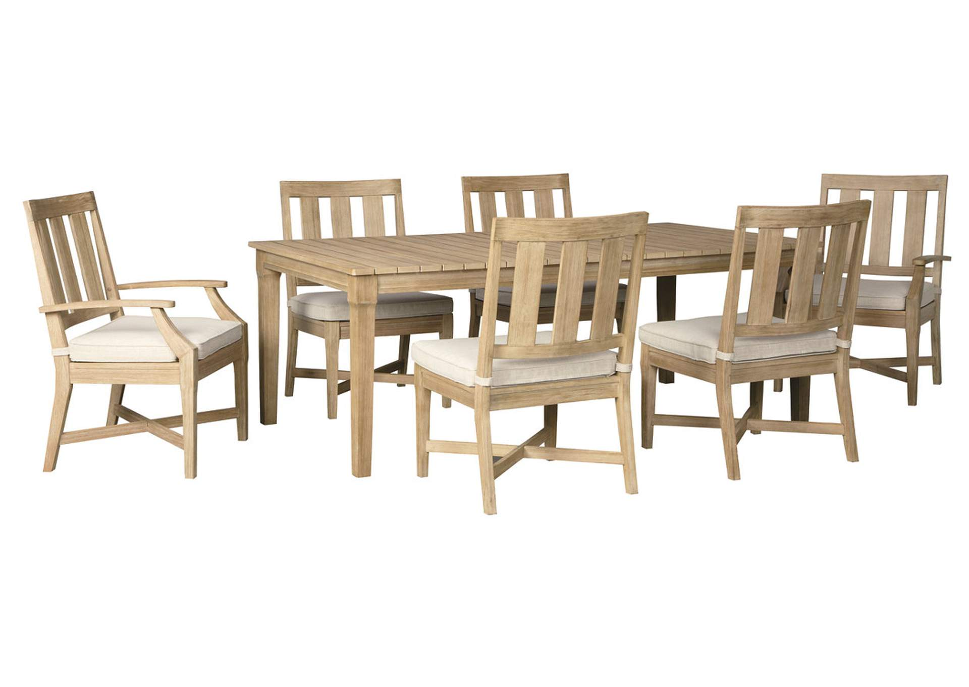 Clare View Beige Dining Table w/Umbrella Option, 4 Chair ... on Clare View Beige Outdoor Living Room id=32532