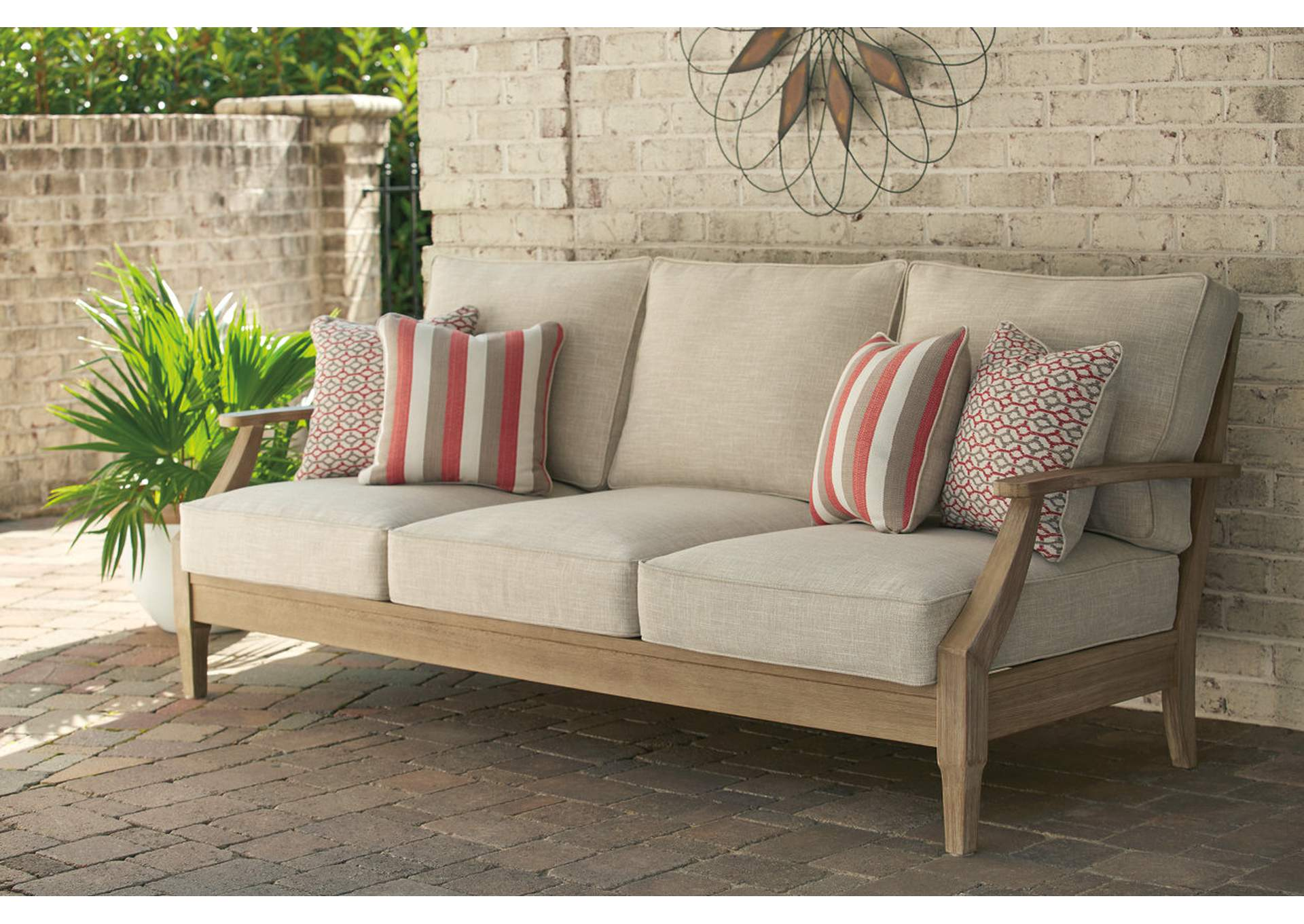 Clare View Beige Sofa w/Cushion,Outdoor By Ashley