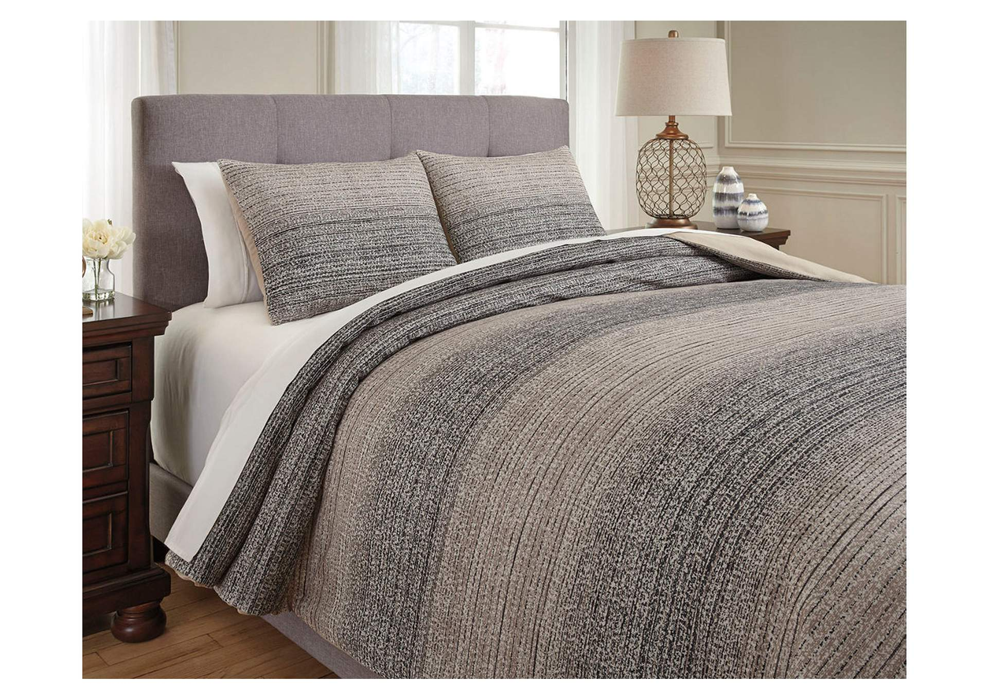 Arturo Natural/Charcoal Queen Duvet Cover Set,Signature Design By Ashley