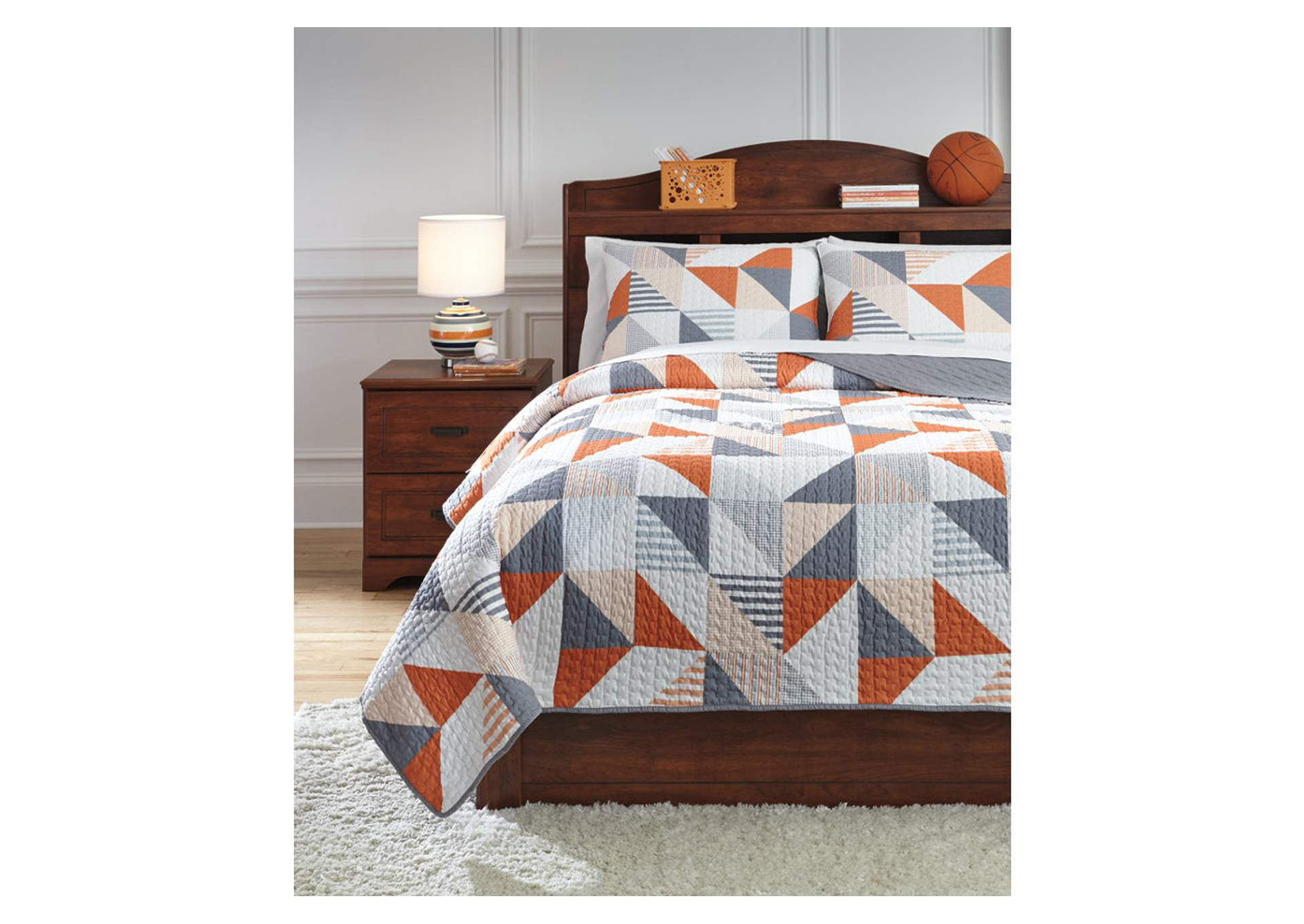 Layne Gray/Orange Full Coverlet Set,Signature Design By Ashley