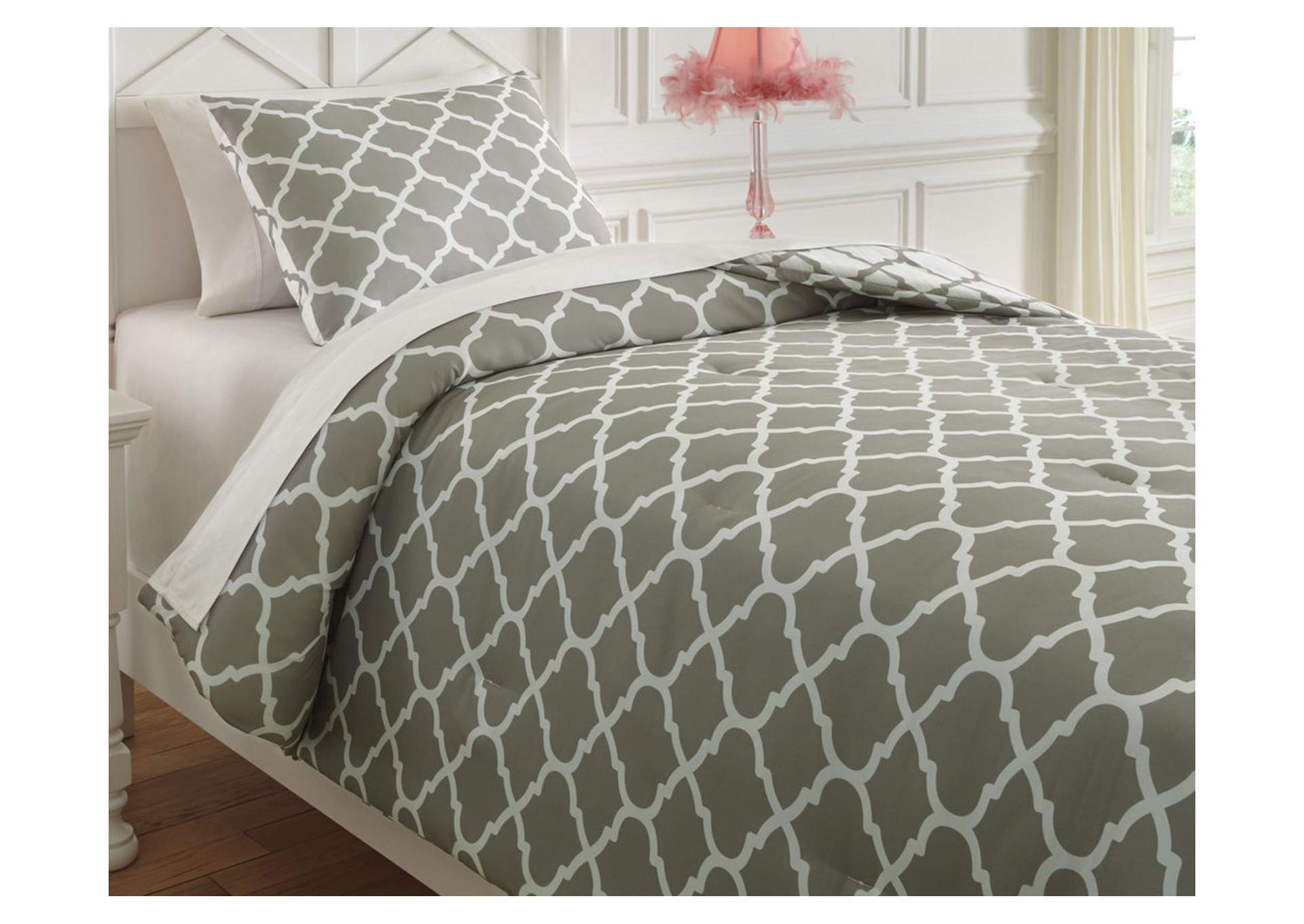 Media Gray/White Twin Comforter Set,Direct To Consumer Express
