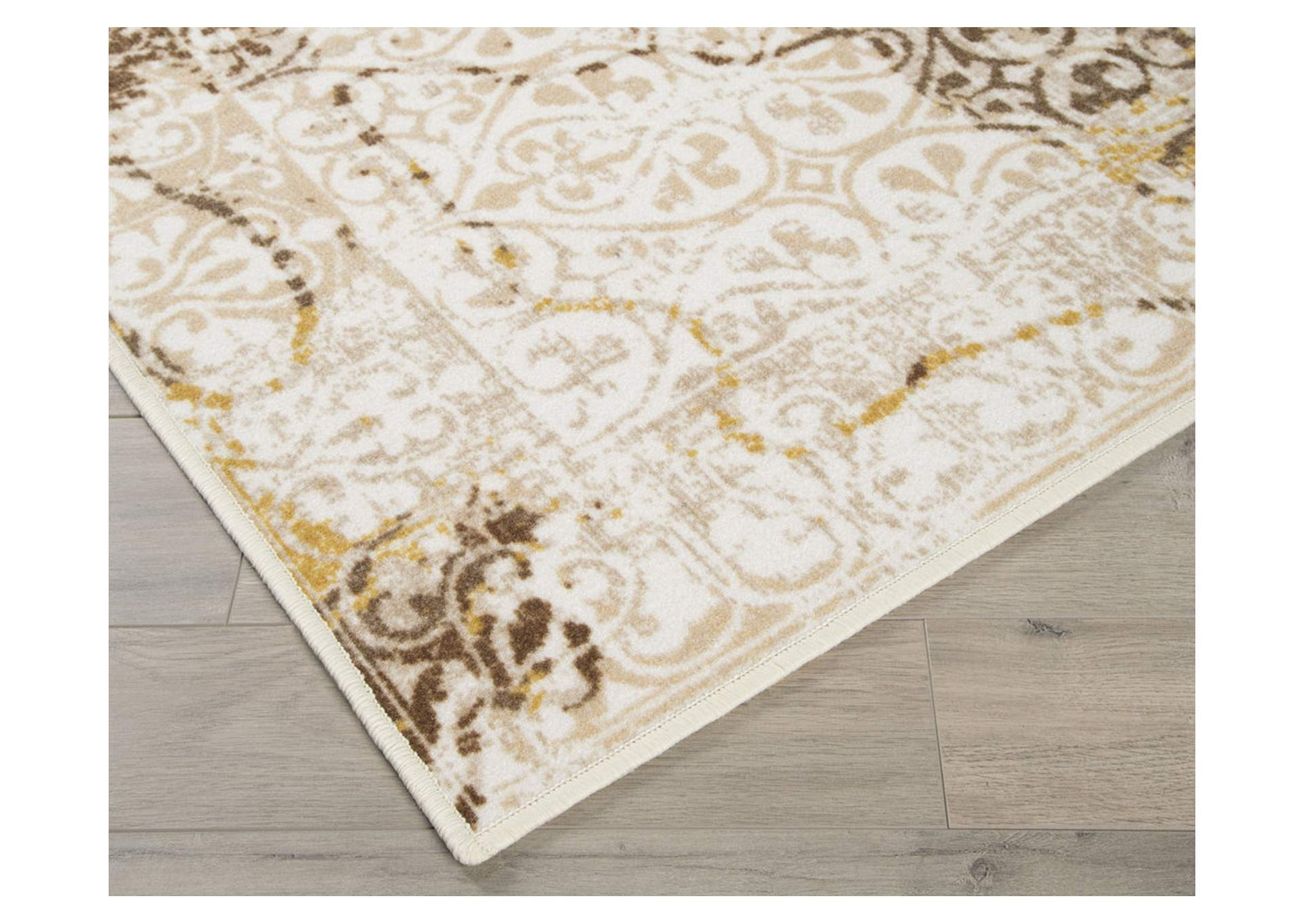 Jariath Ivory/Brown Medium Rug,Direct To Consumer Express