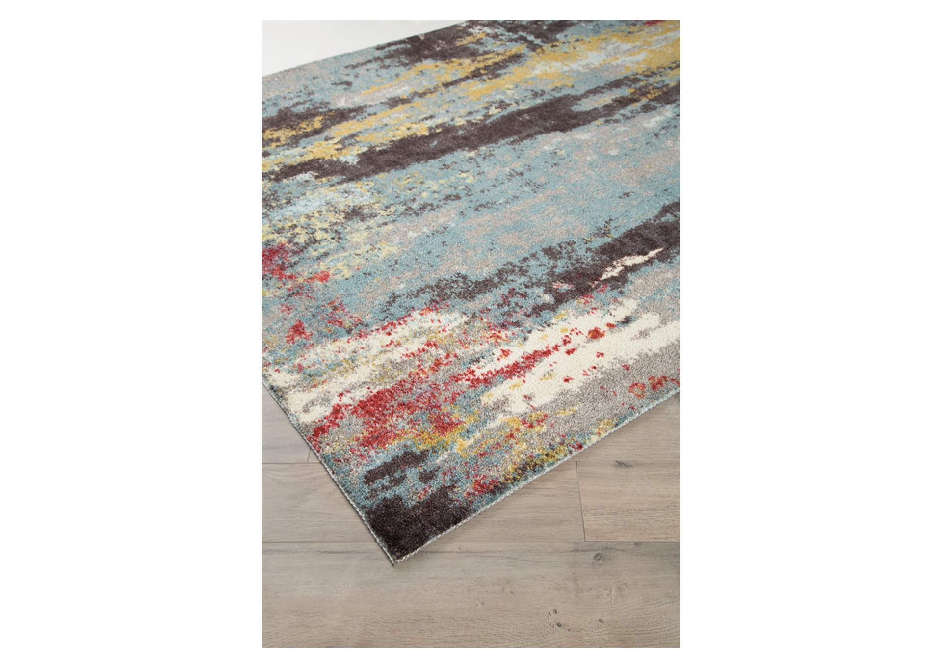 Quent Blue/Gray/Yellow Medium Rug,Direct To Consumer Express