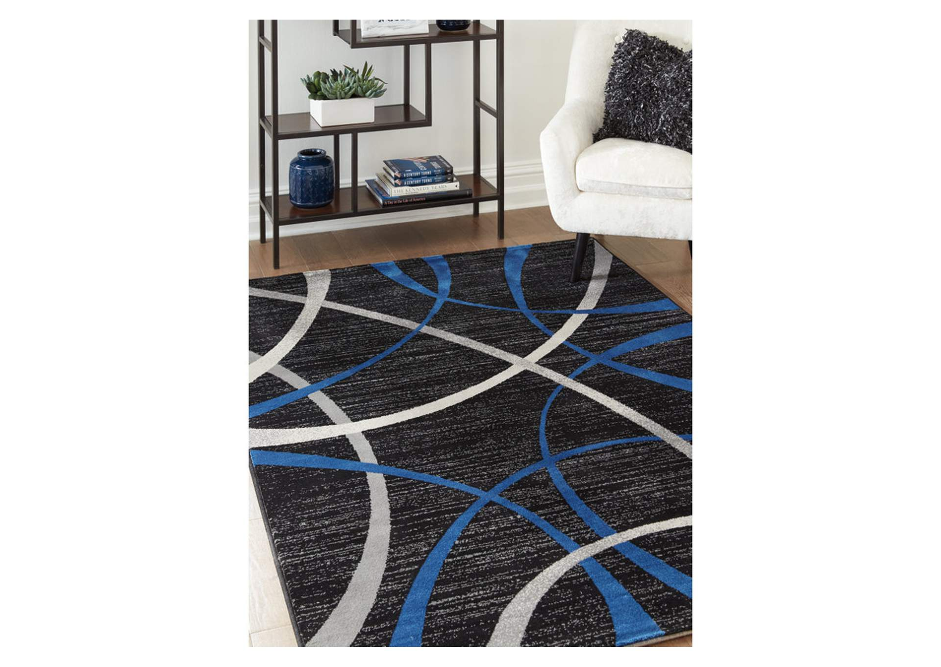 Jenue Black/Gray/Blue Large Rug,Signature Design By Ashley