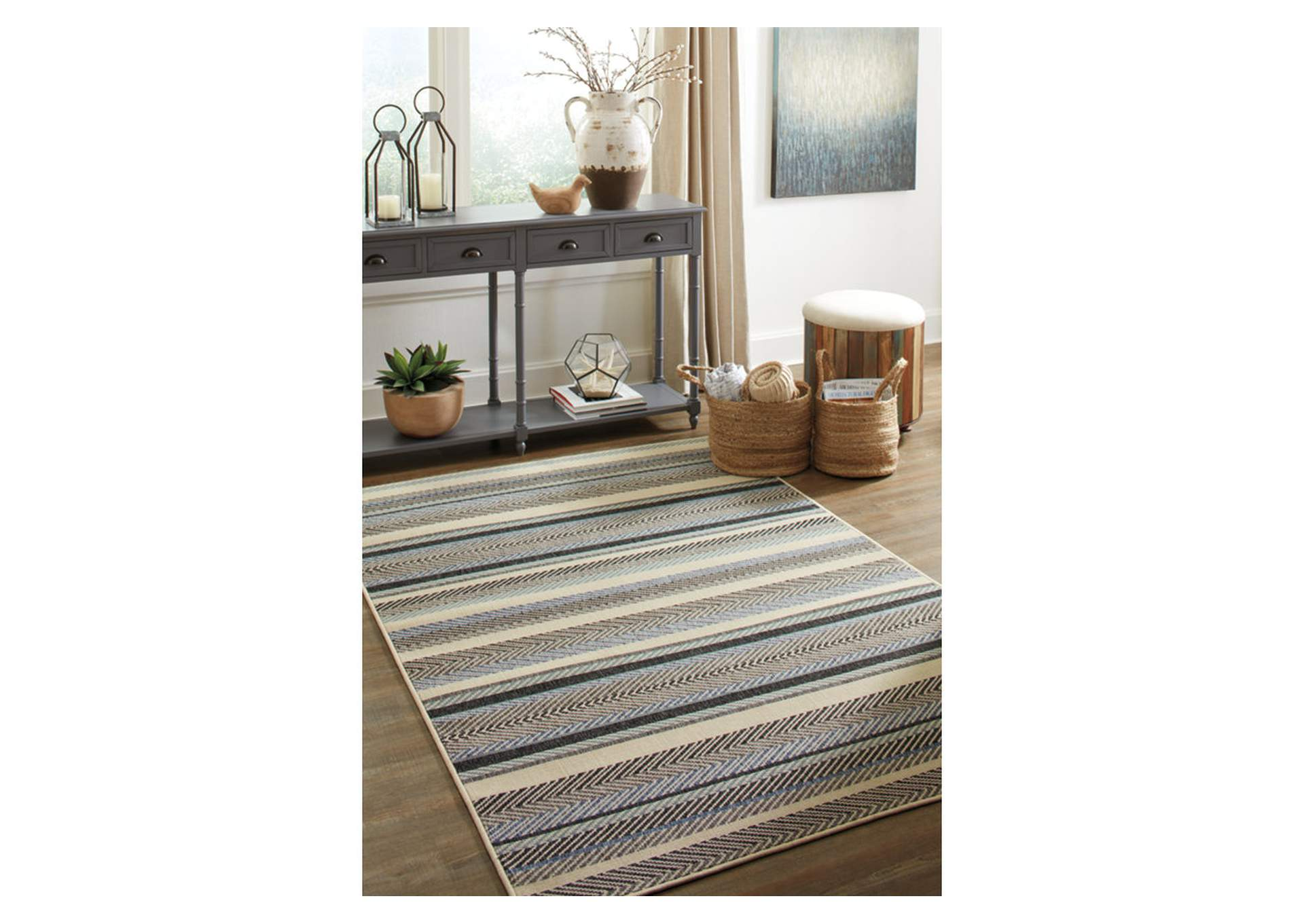 Troost Blue & Cream Medium Rug,Signature Design By Ashley