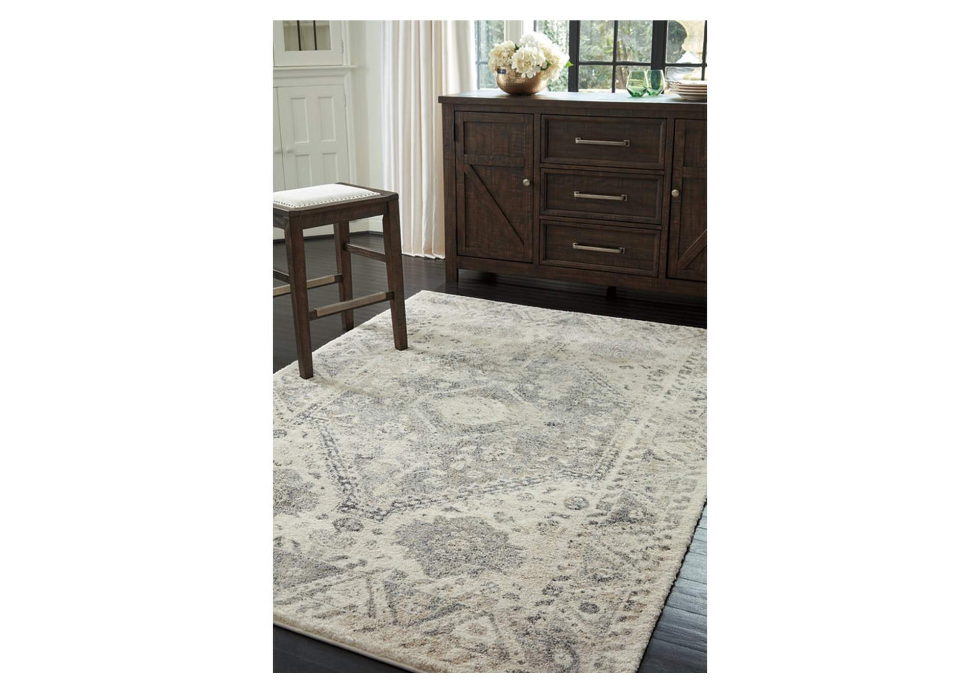 Precia Gray/Cream Medium Rug,Signature Design By Ashley