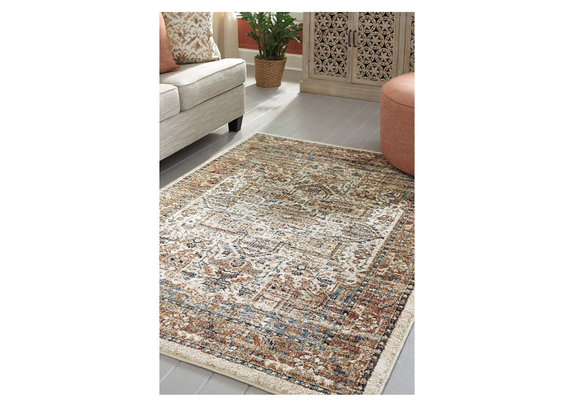 Jirair Tan/Blue/Rust Medium Rug,Signature Design By Ashley
