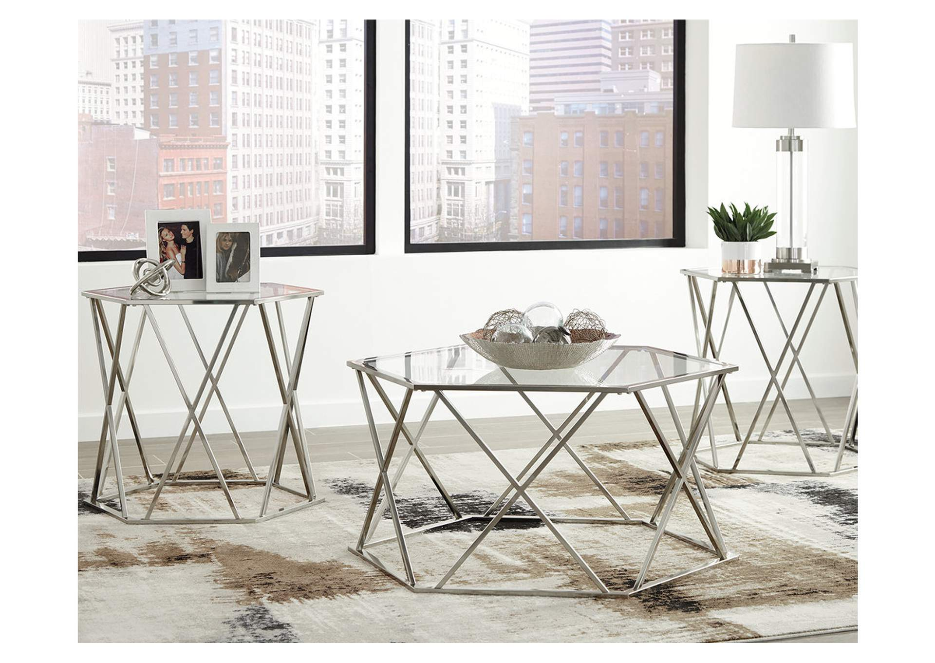Madanere Chrome Finish Occasional Table Set,Direct To Consumer Express