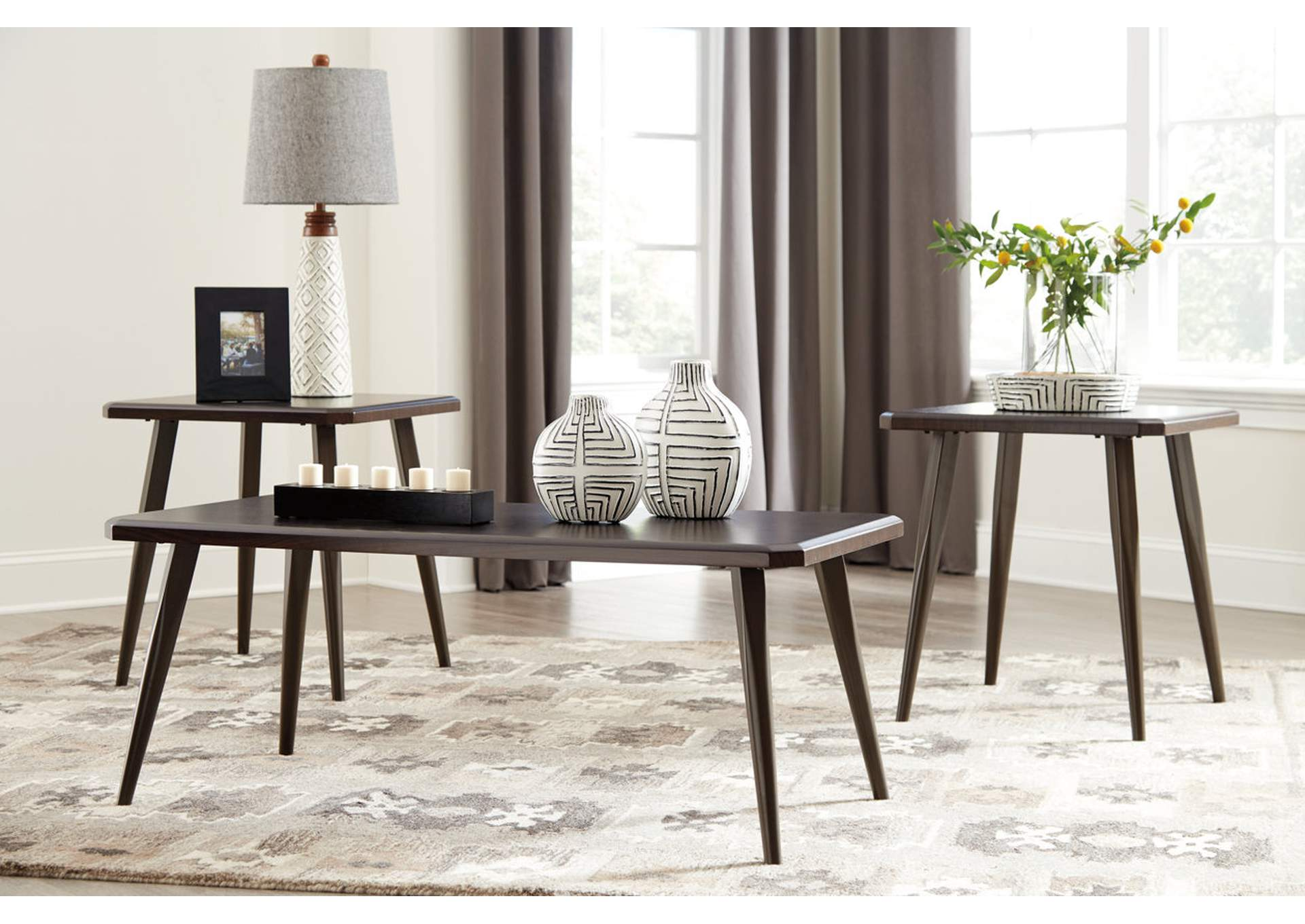 Fazani Dark Brown Occasional Table Set,Direct To Consumer Express