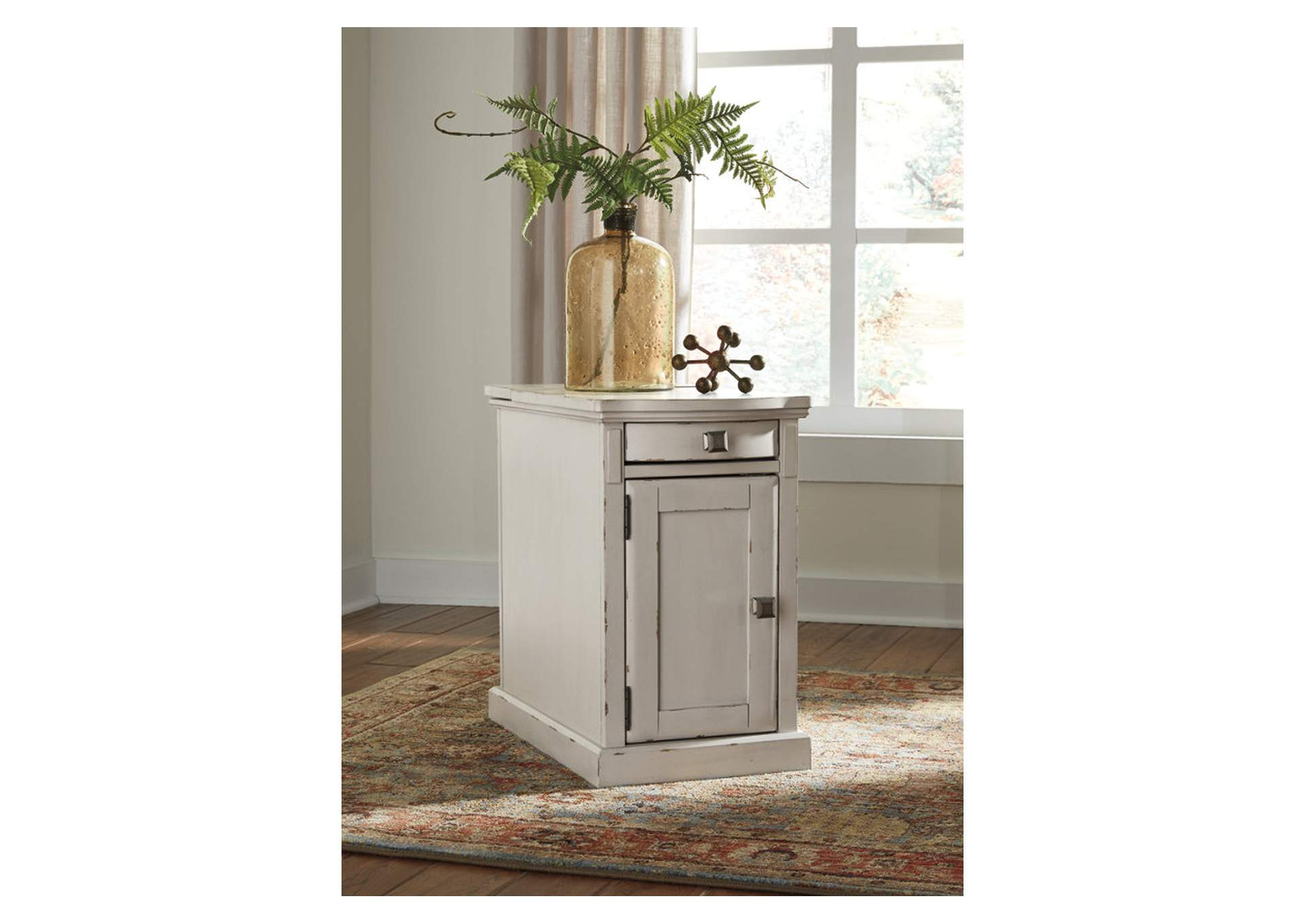 Laflorn White Chairside End Table,Direct To Consumer Express