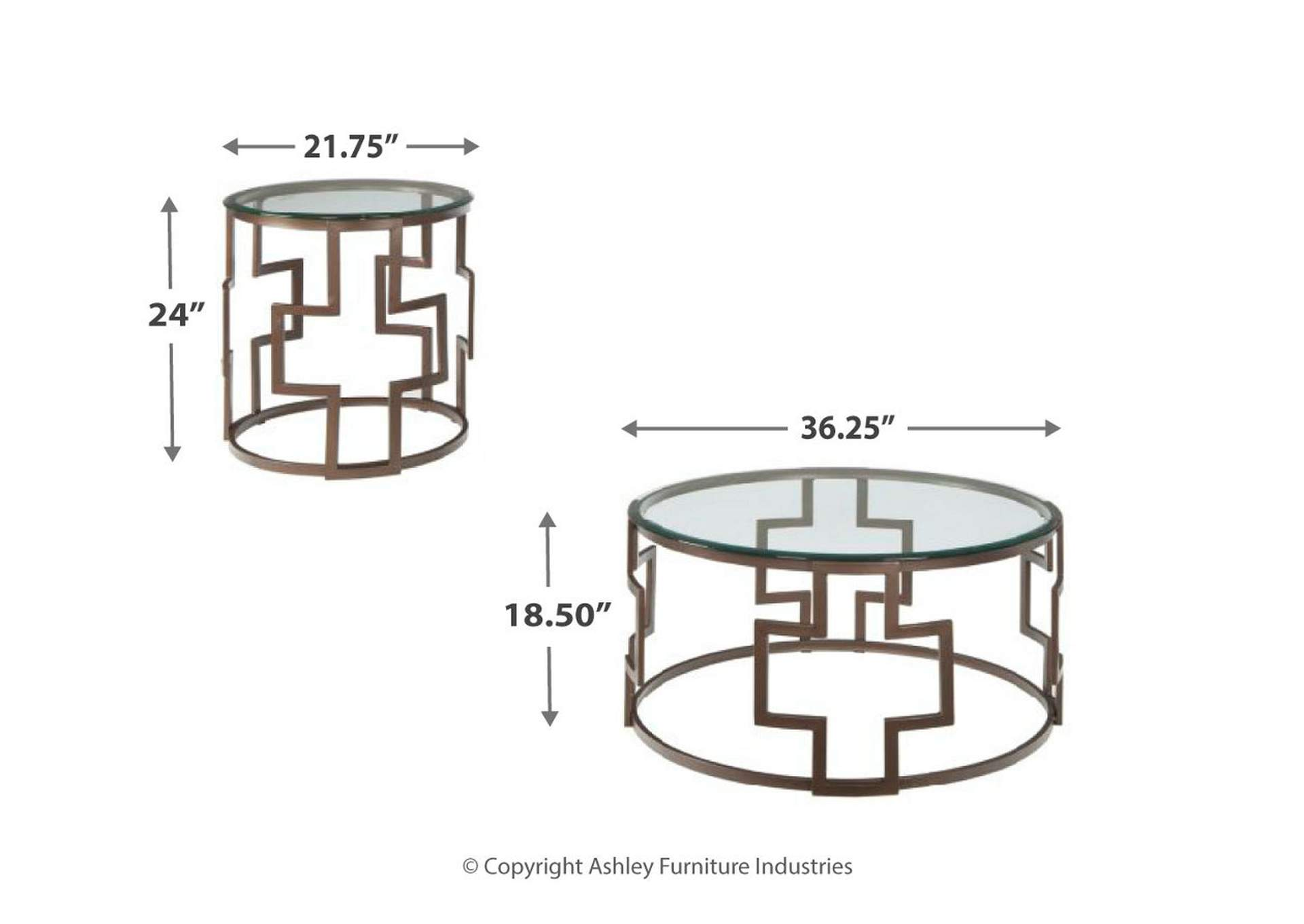 Frostine Dark Bronze Occasional Table Set,Signature Design By Ashley