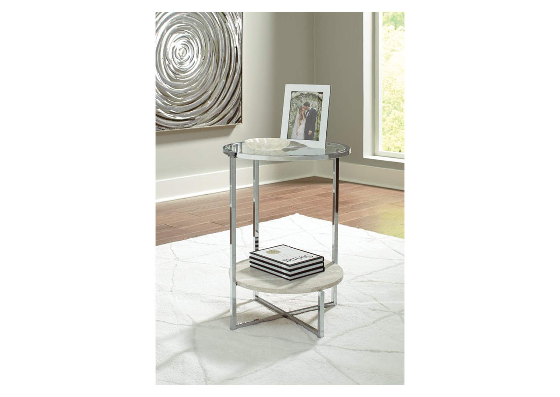 Bodalli Ivory/Chrome End Table,Signature Design By Ashley