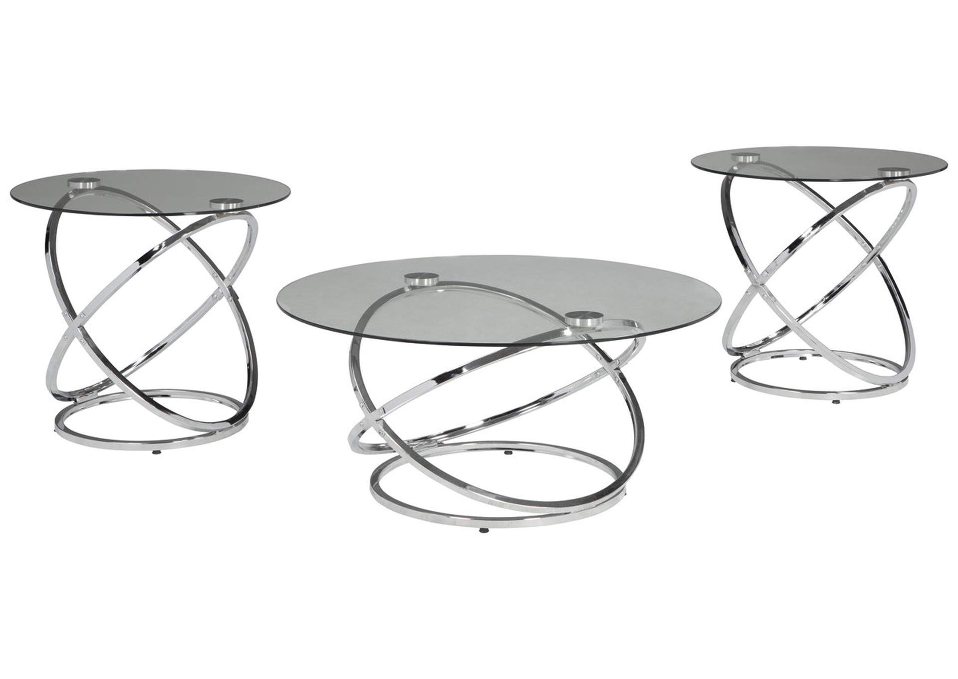 Hollynyx Chrome Occasional Table Set (Set of 3),Signature Design By Ashley