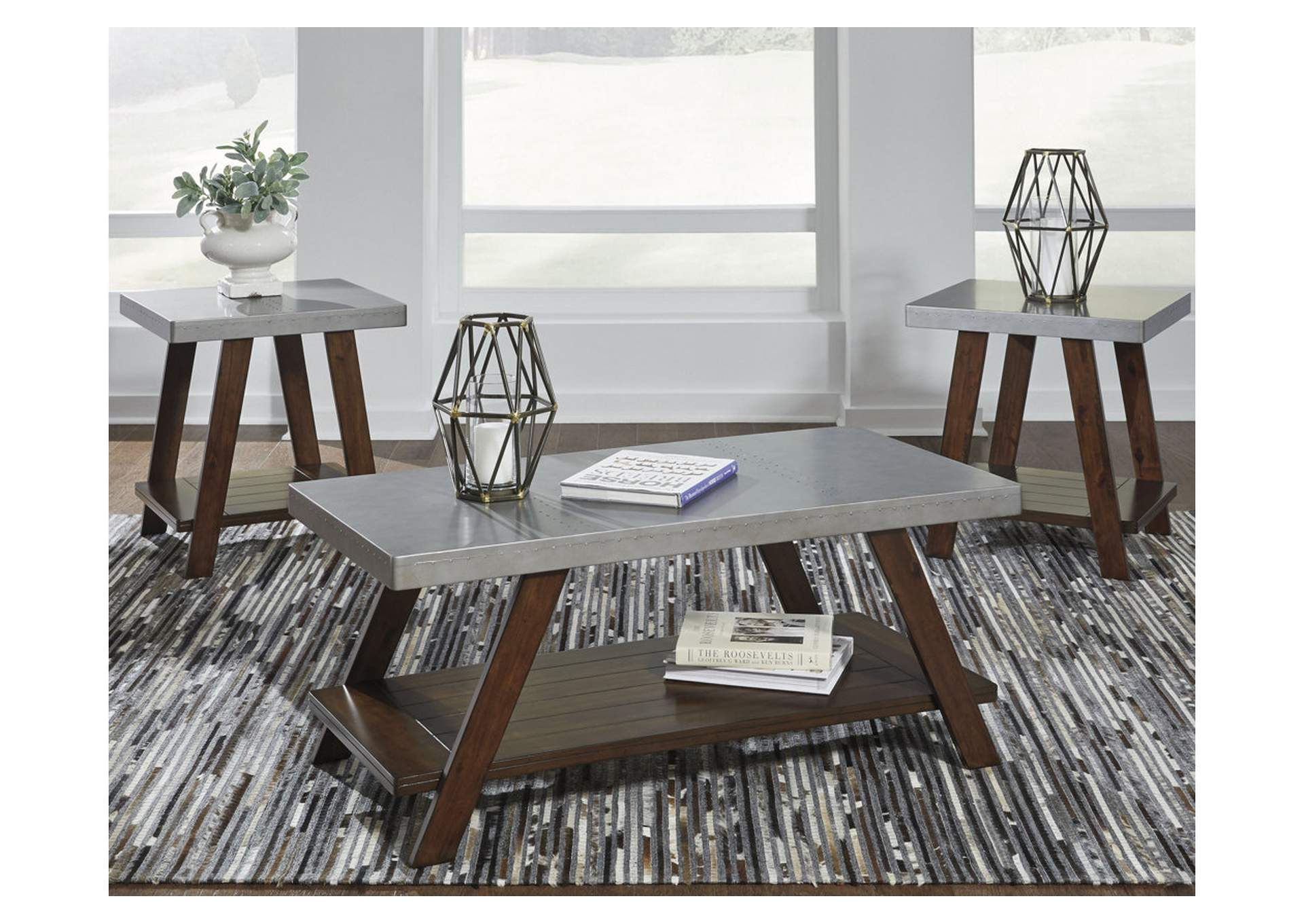 Bellenteen Brown/Silver Finish Occasional Table Set,Direct To Consumer Express