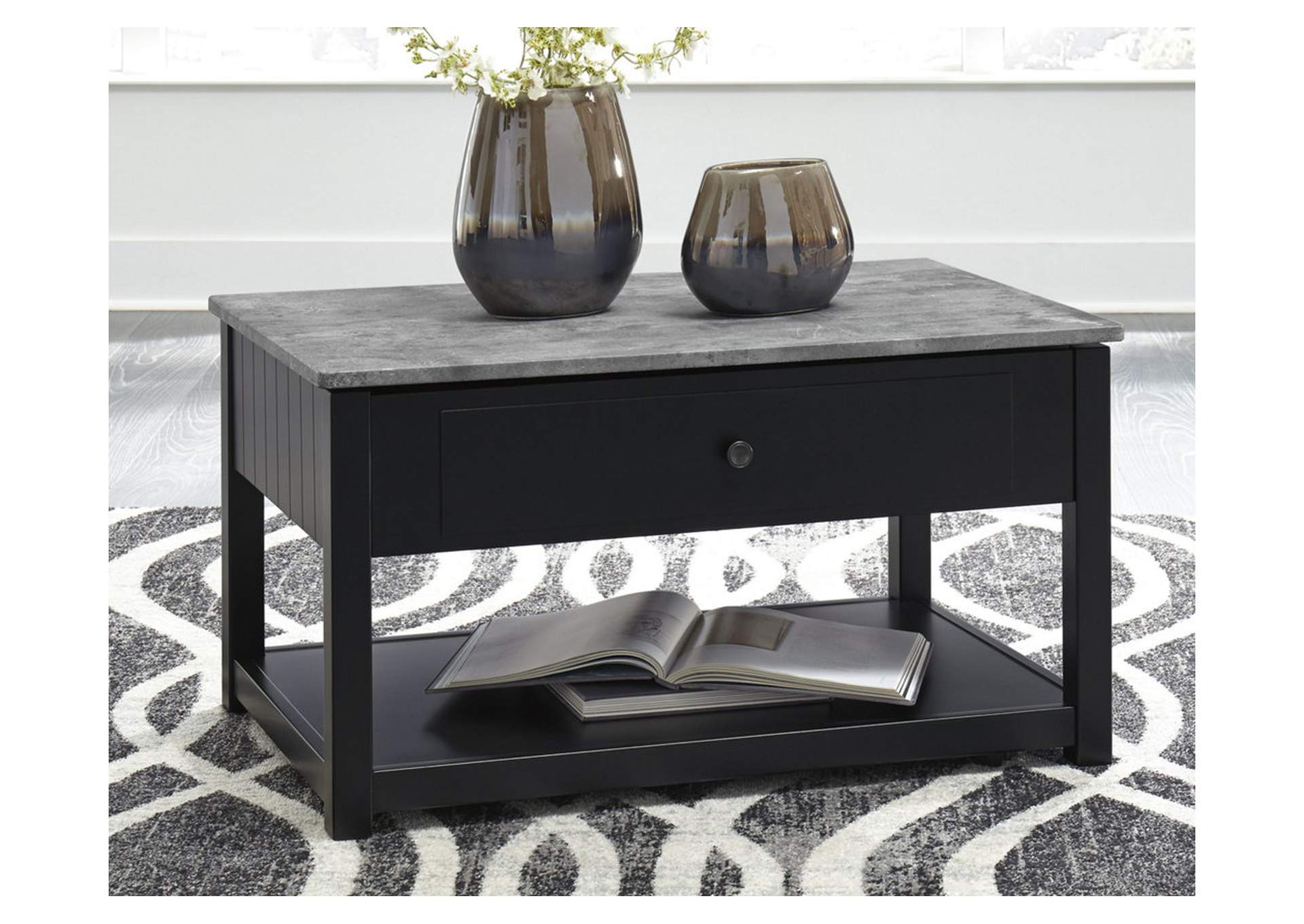 Ezmonei Black/Gray Lift Top Cocktail Table,Signature Design By Ashley