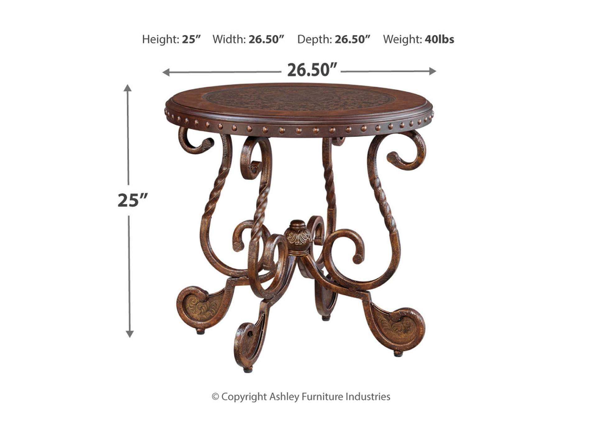 Rafferty Round End Table,Direct To Consumer Express