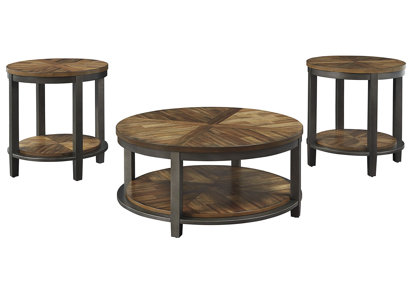 Roybeck Light Brown/Bronze Occasional Table Set (Set of 3),Signature Design By Ashley