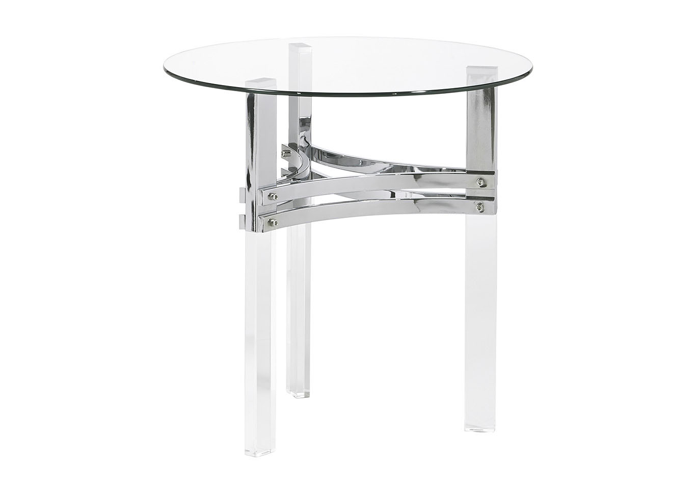 Braddoni Chrome Round End Table,Signature Design By Ashley