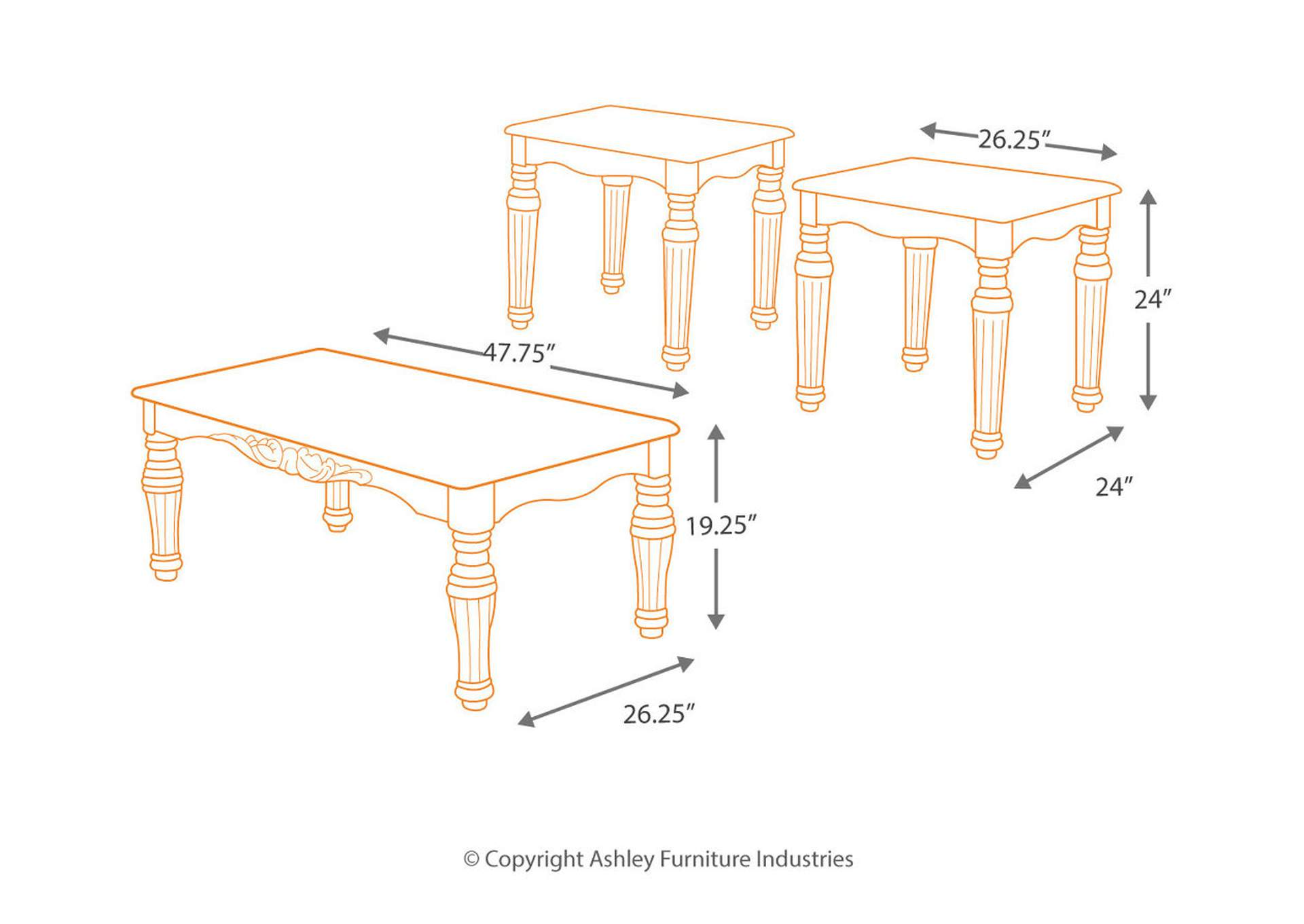 North Shore Cocktail Table & 2 End Table Set,Signature Design By Ashley