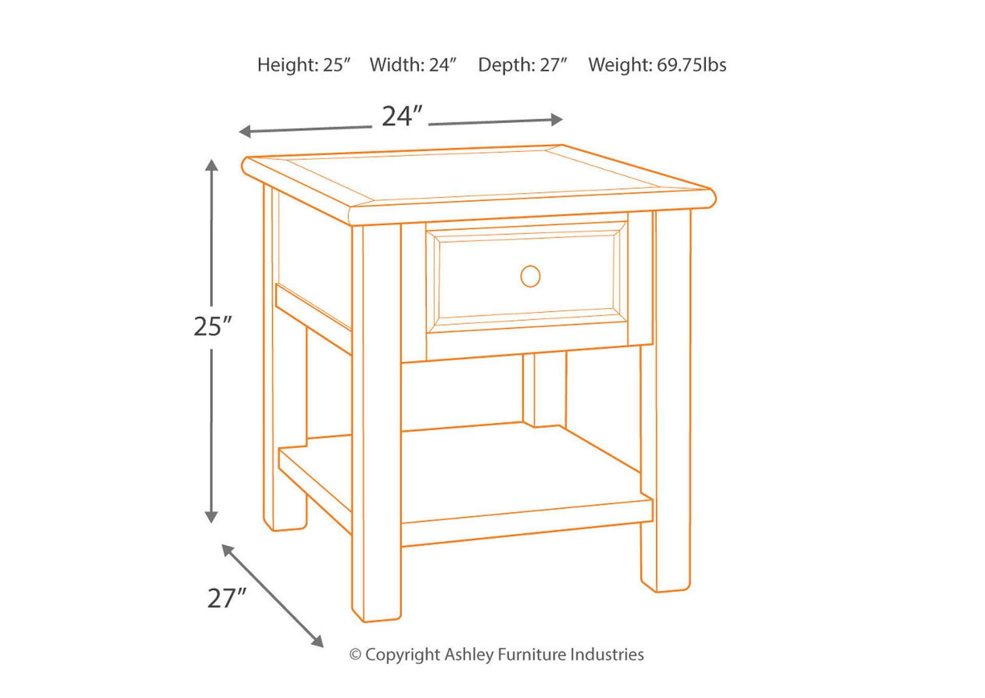 Bolanburg Two-tone Rectangular End Table,Direct To Consumer Express