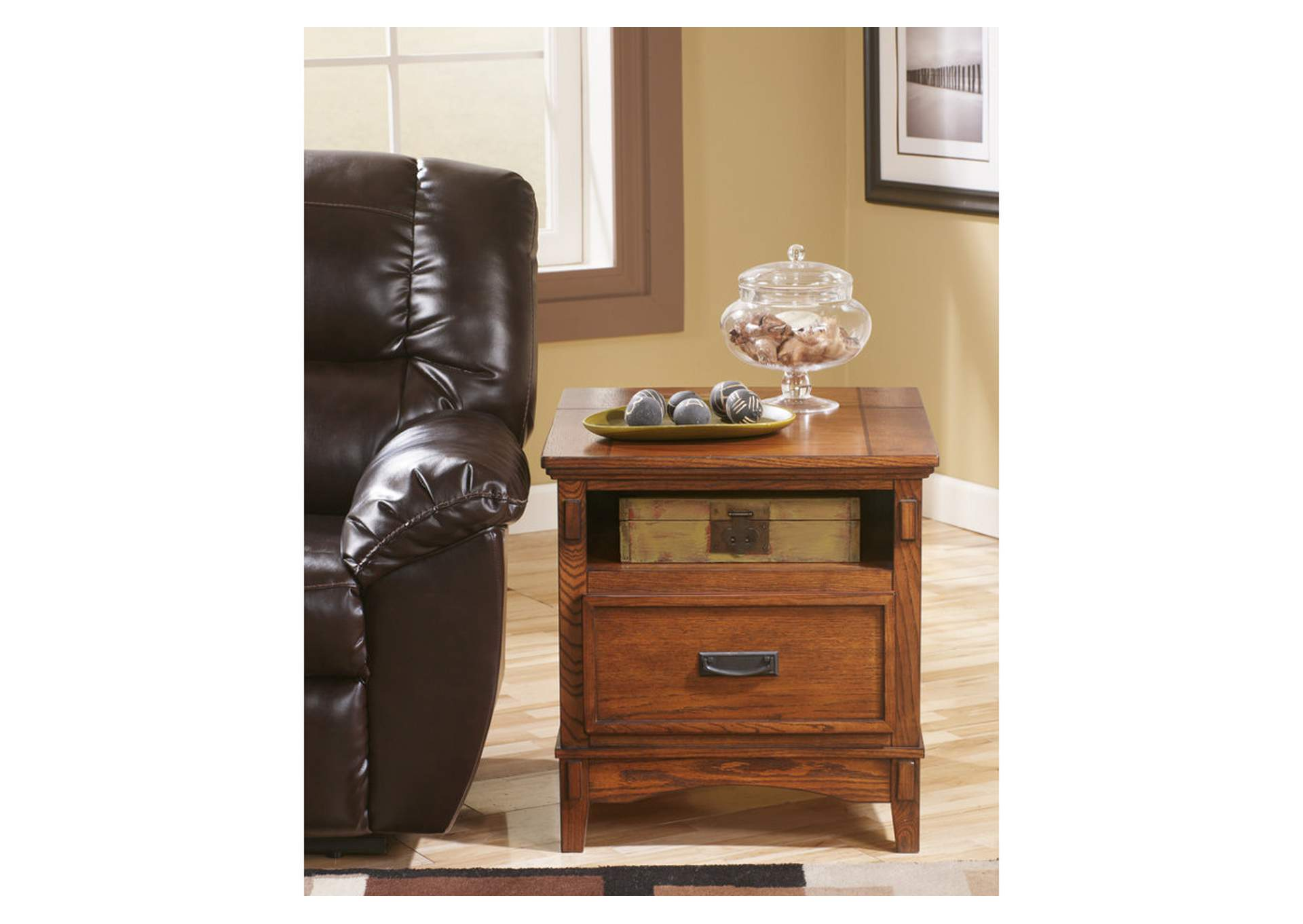 Cross Island Brown Island End Table with Power Outlets,Direct To Consumer Express
