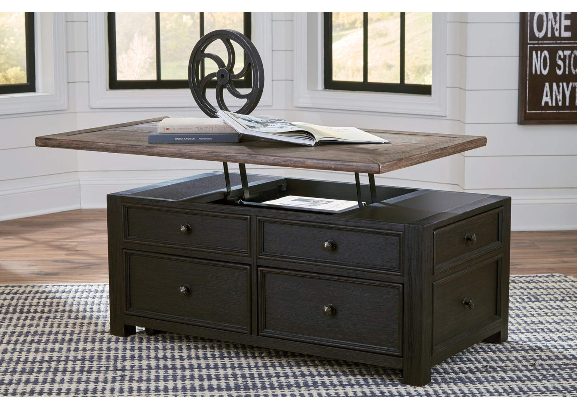 Tyler Creek Grayish Brown/Black Lift Top Cocktail Table,Direct To Consumer Express
