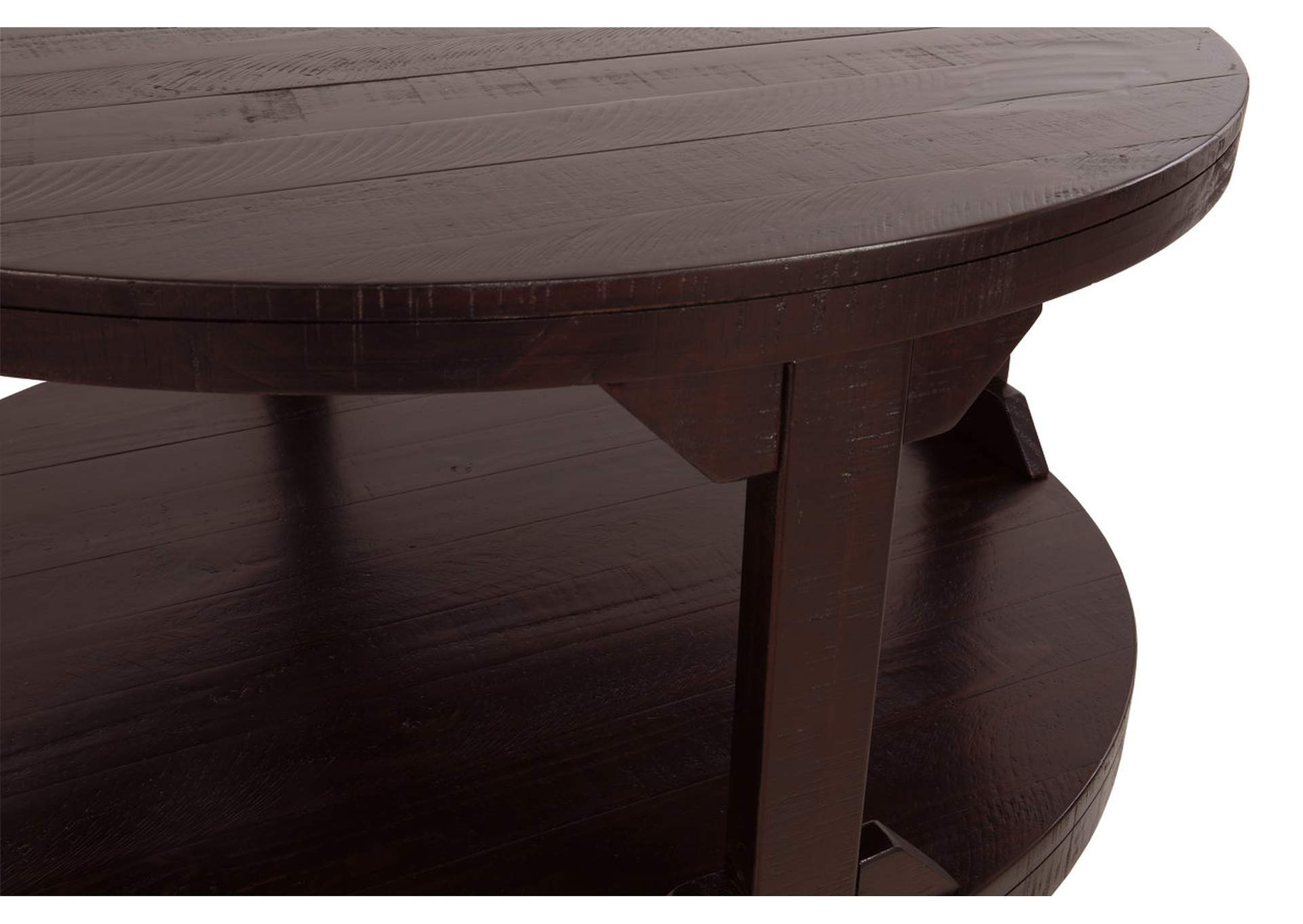 Rogness Rustic Brown Round Cocktail Table,Direct To Consumer Express