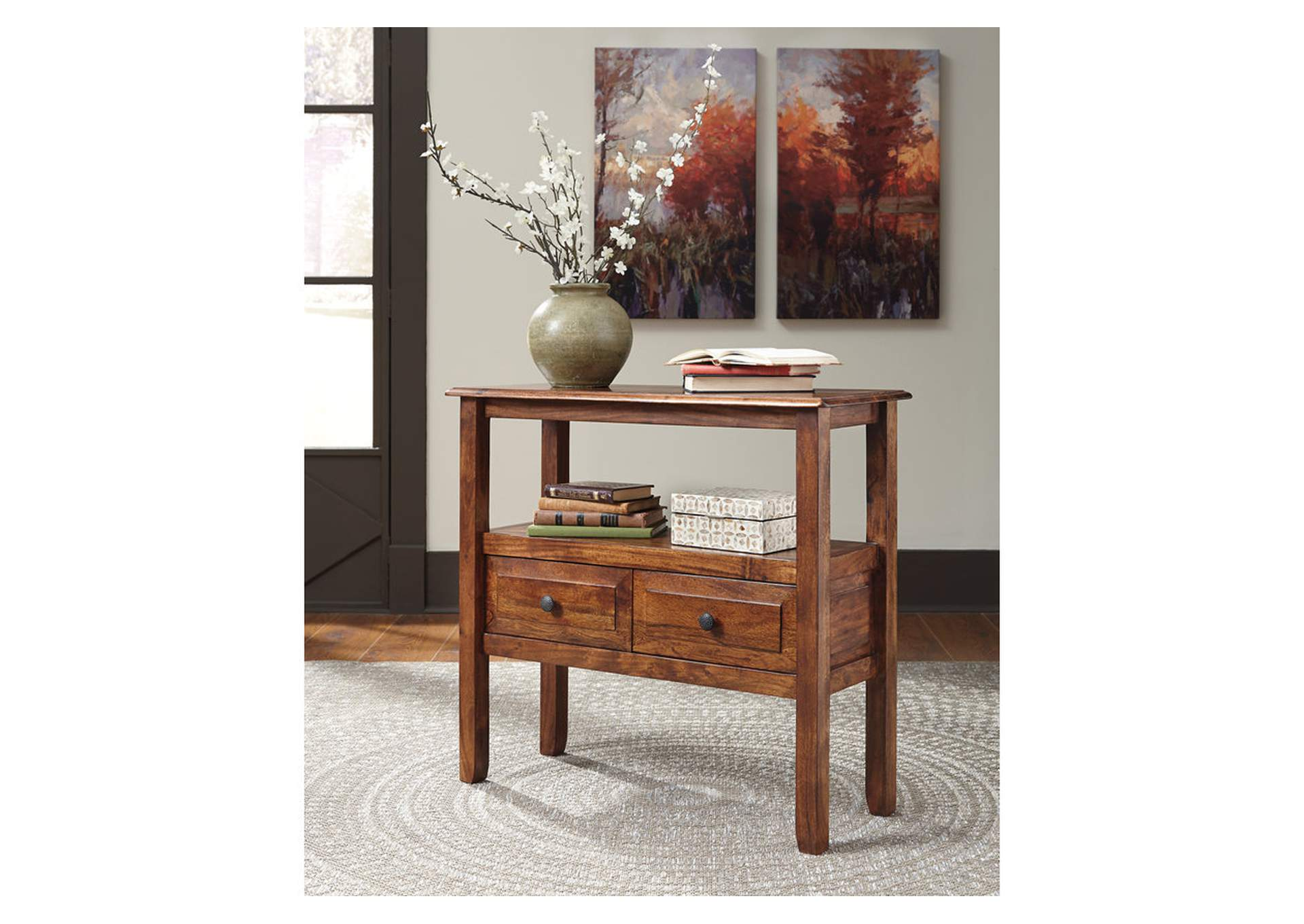 Abbonto Warm Brown Accent Table,Direct To Consumer Express