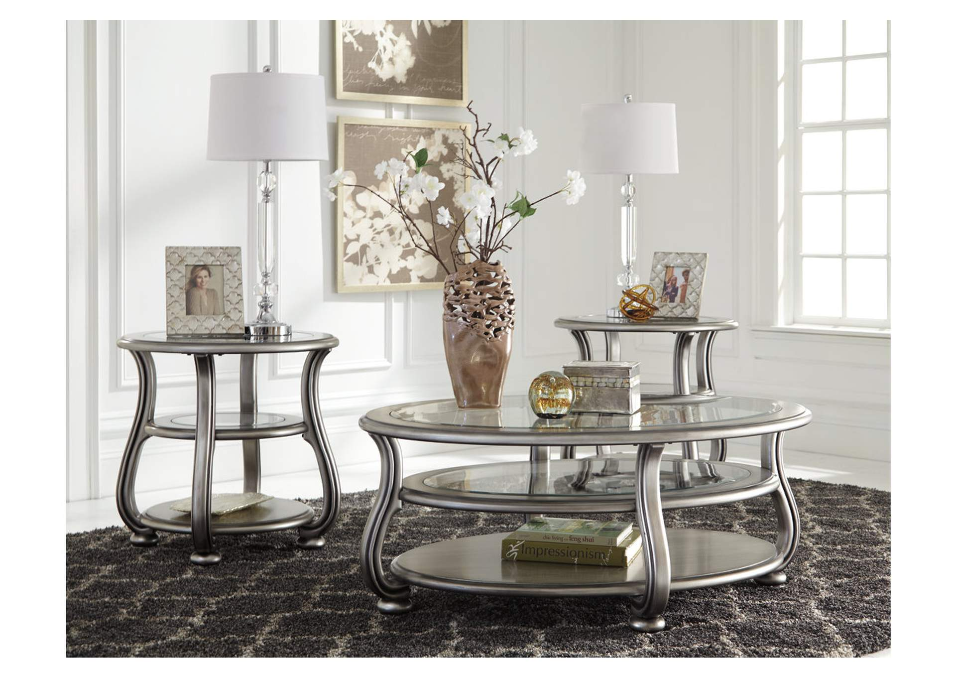 Coralayne Silver Finish Oval Cocktail Table,Direct To Consumer Express