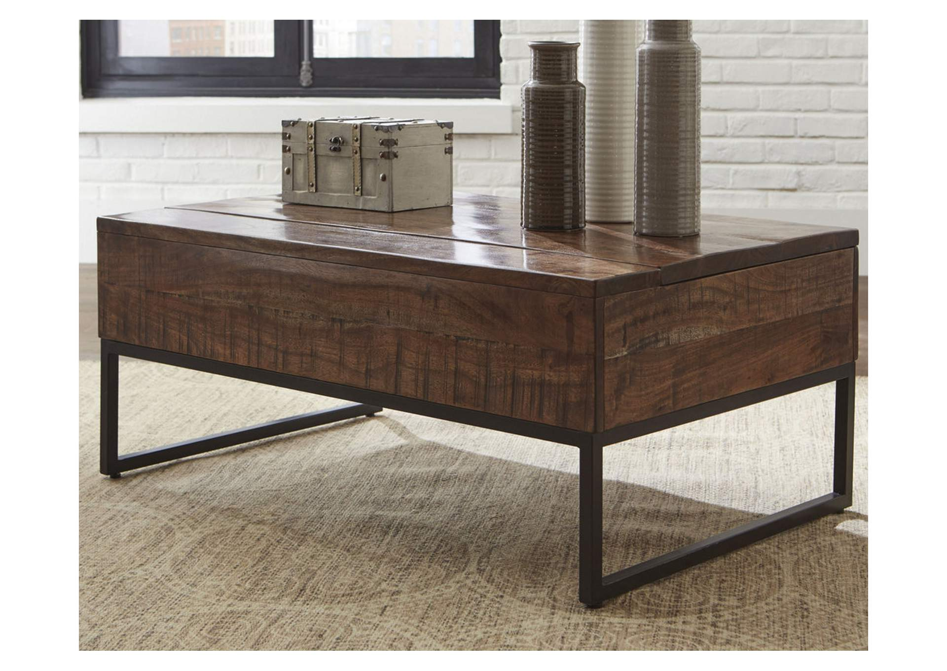 Hirvanton Warm Brown Lift Top Cocktail Table,Signature Design By Ashley
