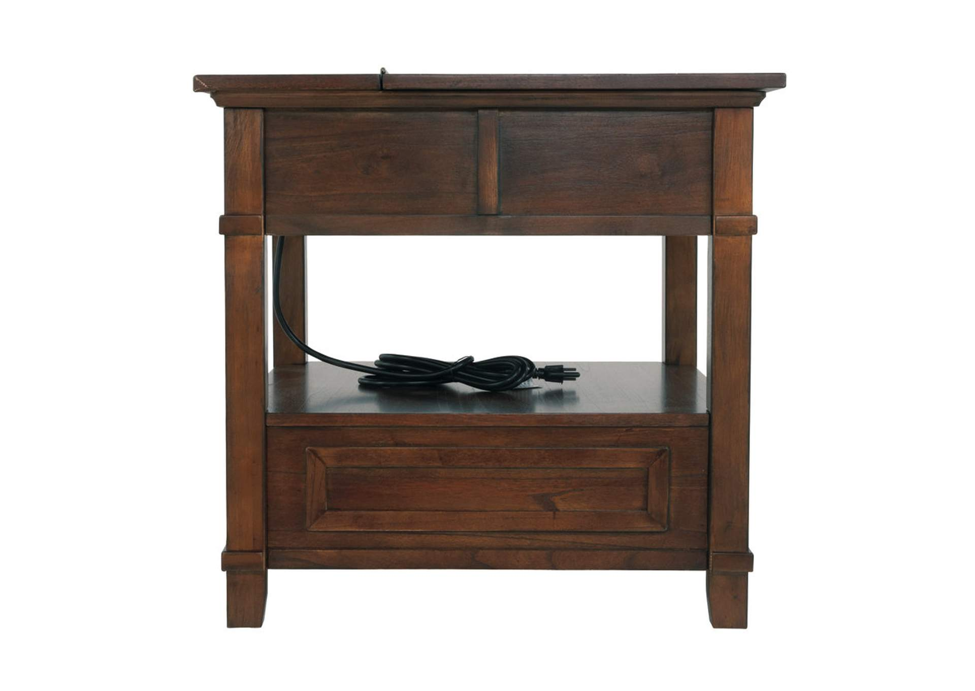 Gately Brown End Table with Storage & Power Outlets,Direct To Consumer Express