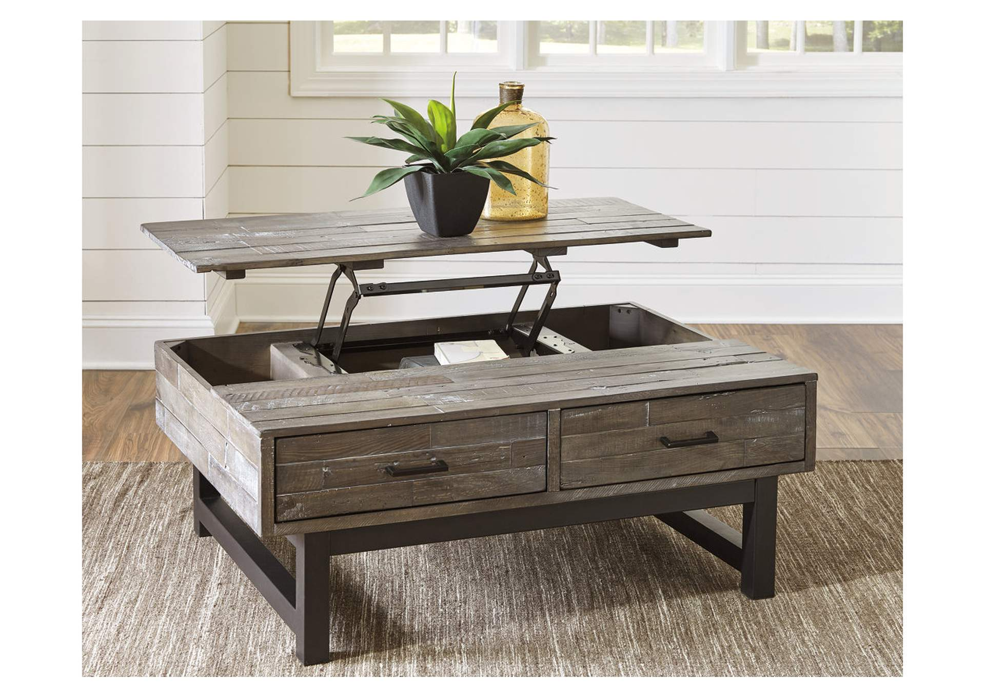 Mondoro Grayish Brown Lift Top Cocktail Table,Signature Design By Ashley