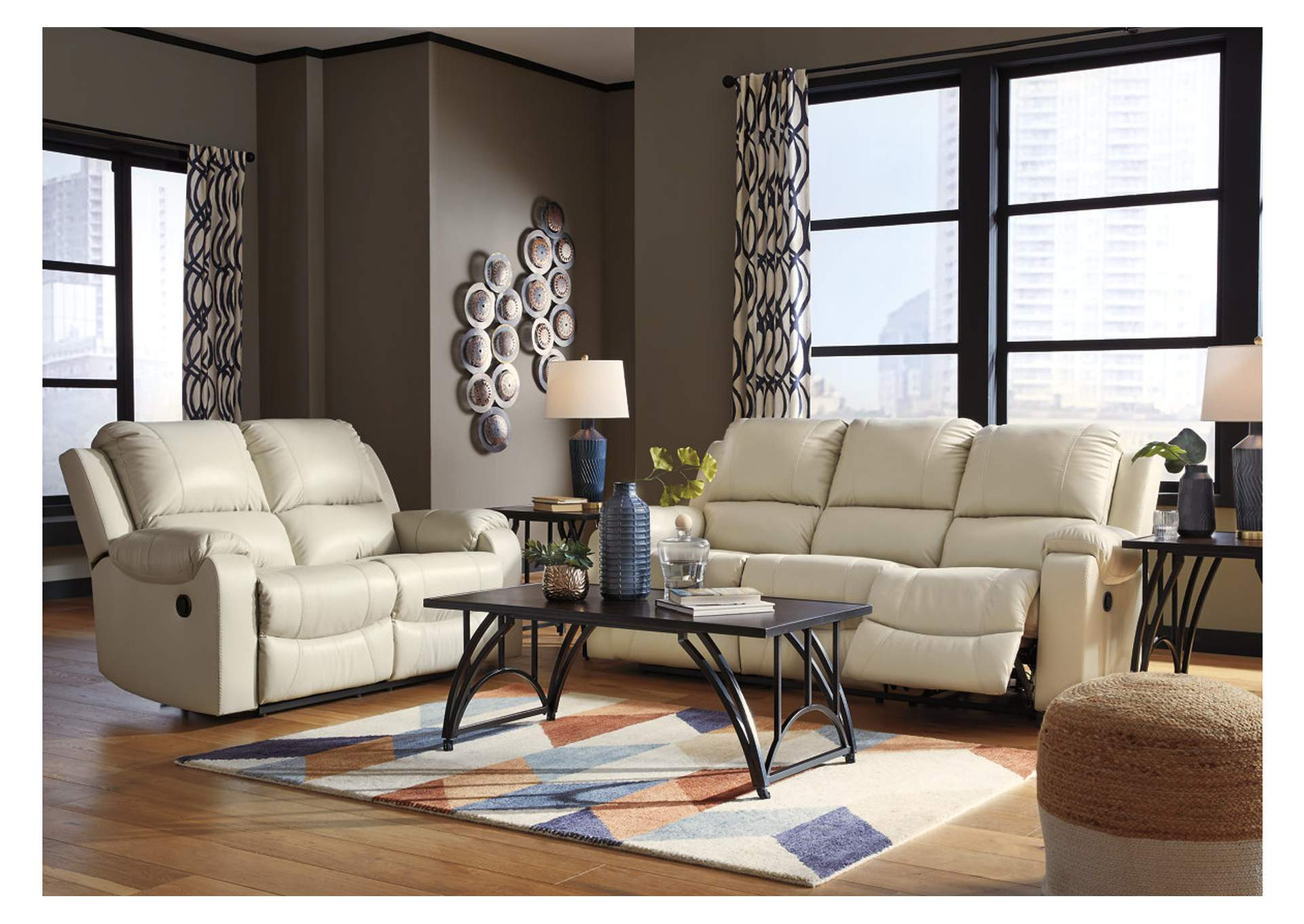 Rackingburg Cream Reclining Sofa & Loveseat Jerusalem Furniture