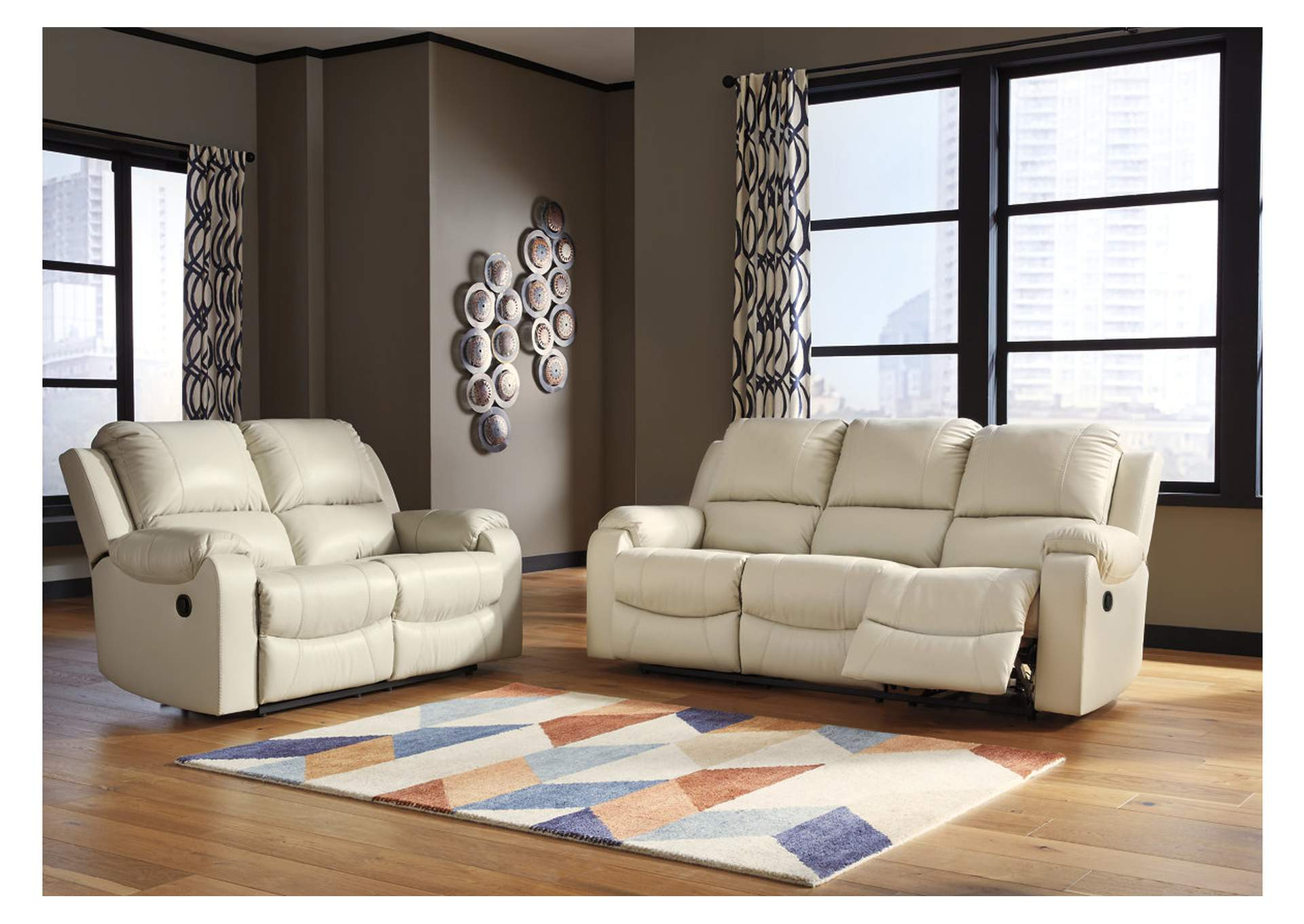 Rackingburg Cream Reclining Sofa & Loveseat,Signature Design By Ashley