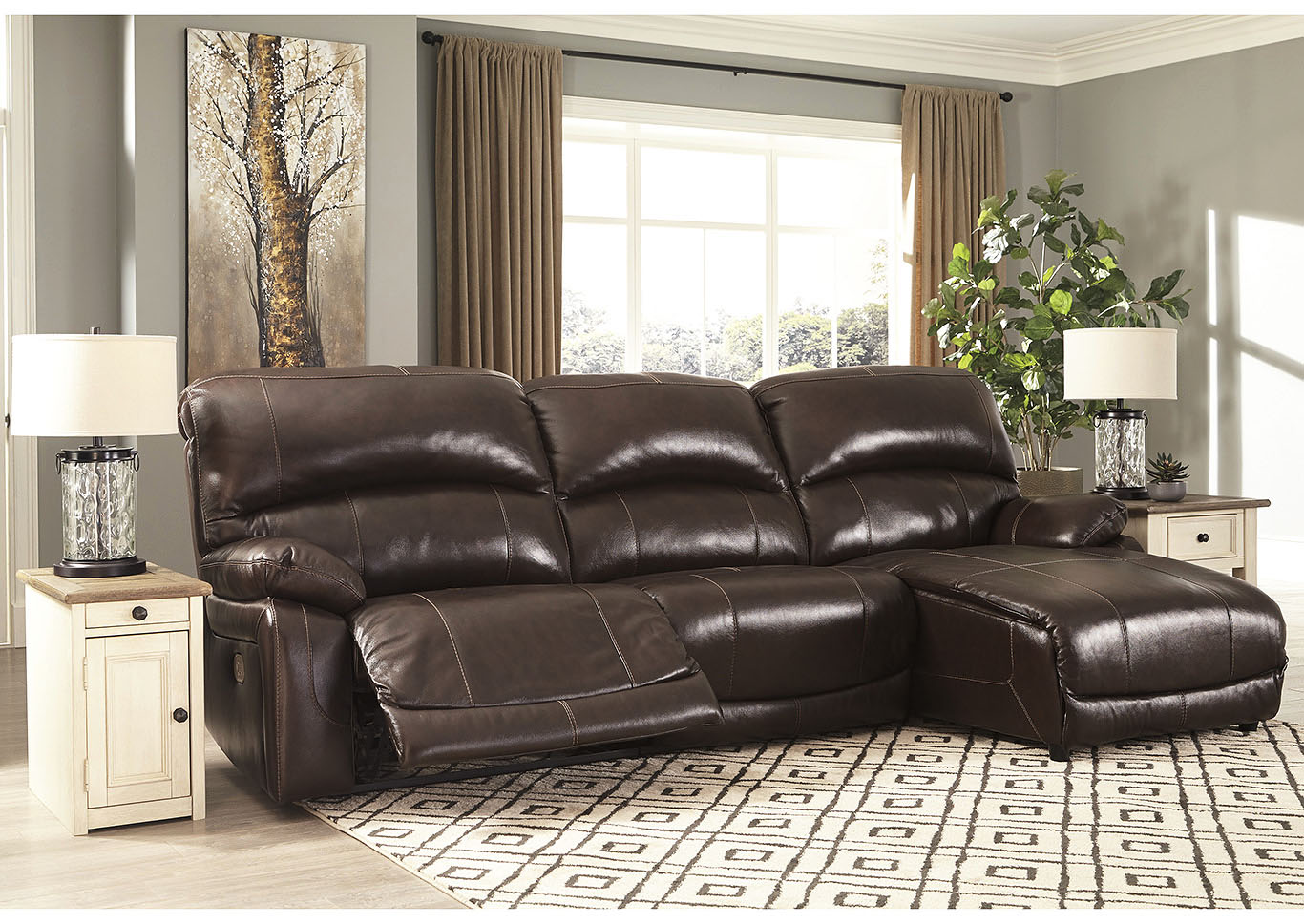 Hallstrung Chocolate RAF Chaise Reclining Sectional,Signature Design By Ashley