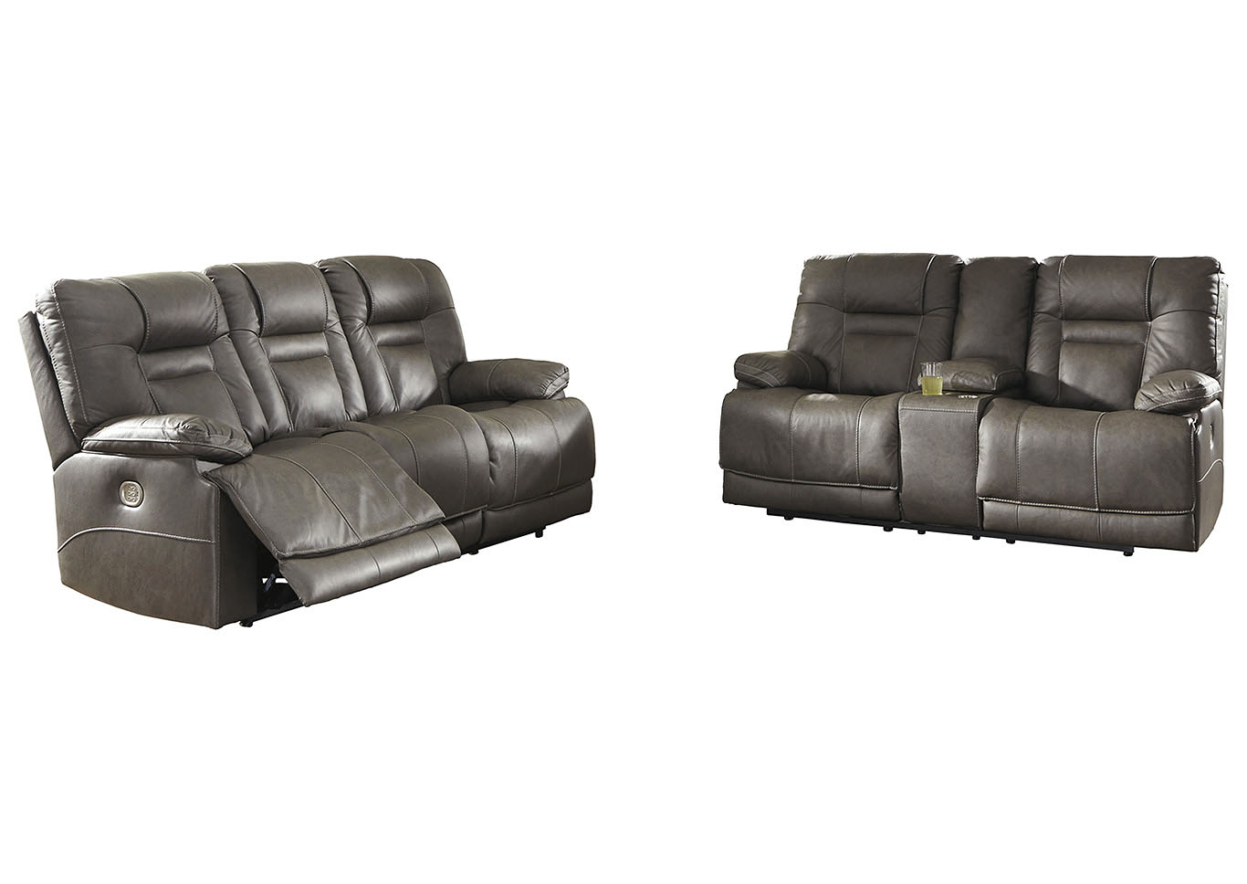 Wurstrow Smoke Power Reclining Sofa Loveseat W Adjustable Headrest Roberts Furniture Mattress