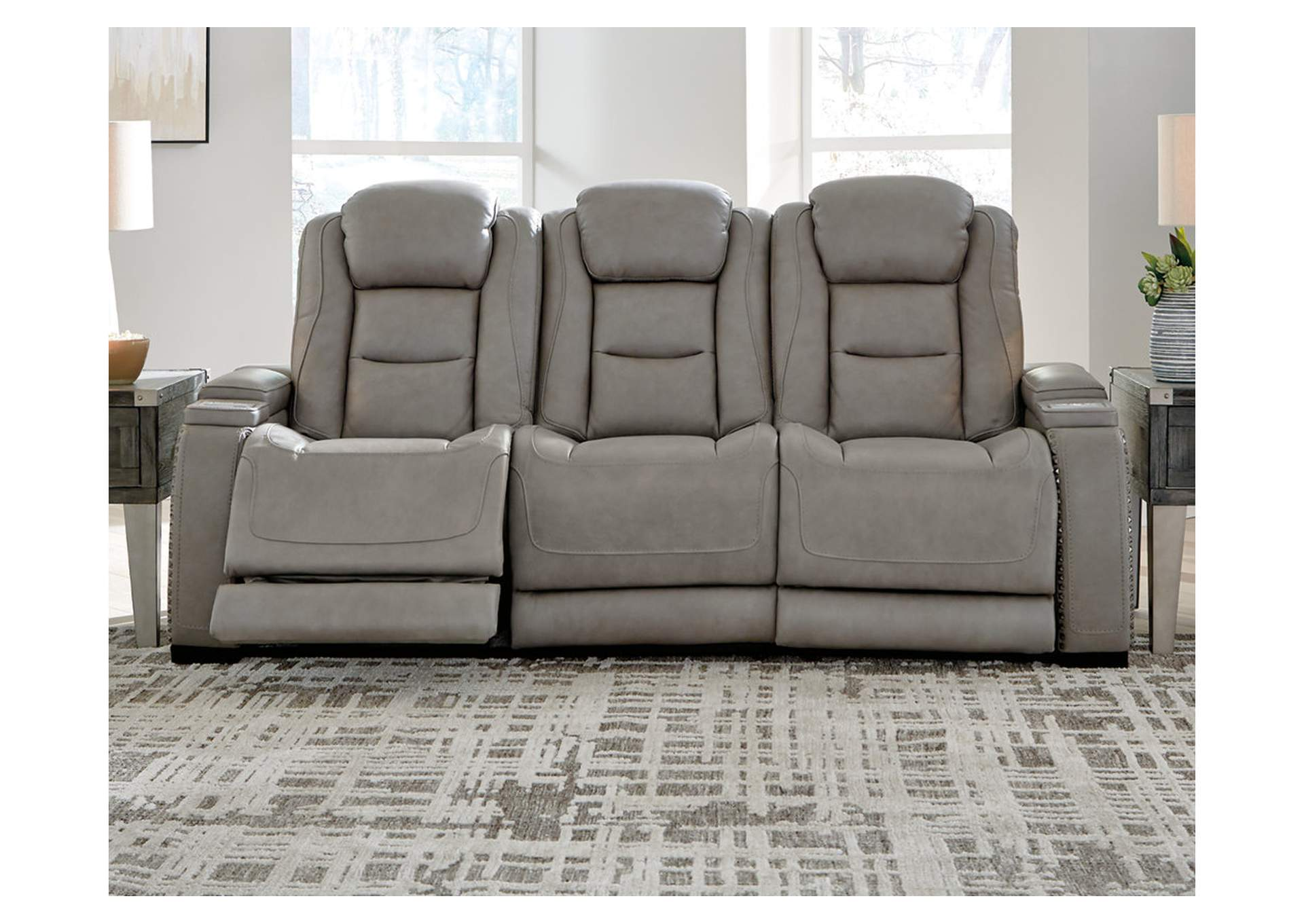 The Man-Den Gray Power Reclining Sofa,Signature Design By Ashley