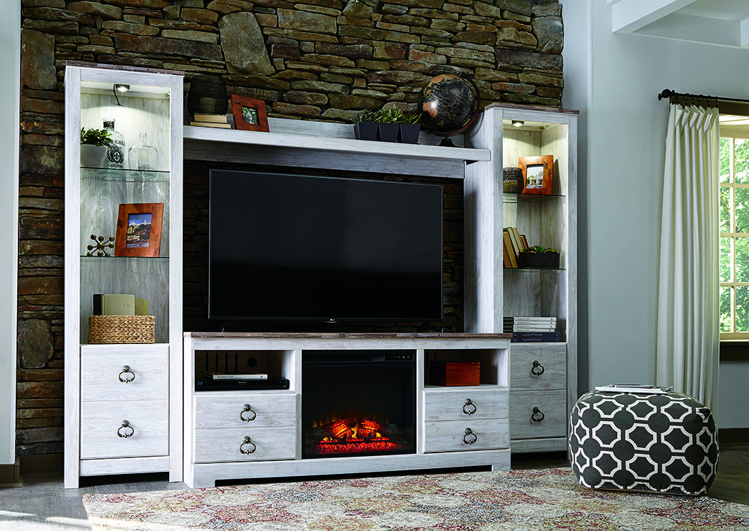 Willowton Whitewash Entertainment Center w/Fireplace Insert Infrared,Signature Design By Ashley