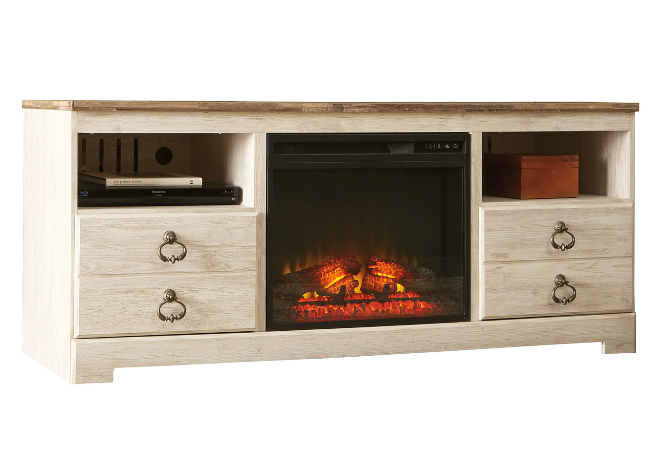 "Willowton Whitewash 64"" TV Stand w/Fireplace Insert Infrared,Signature Design By Ashley"
