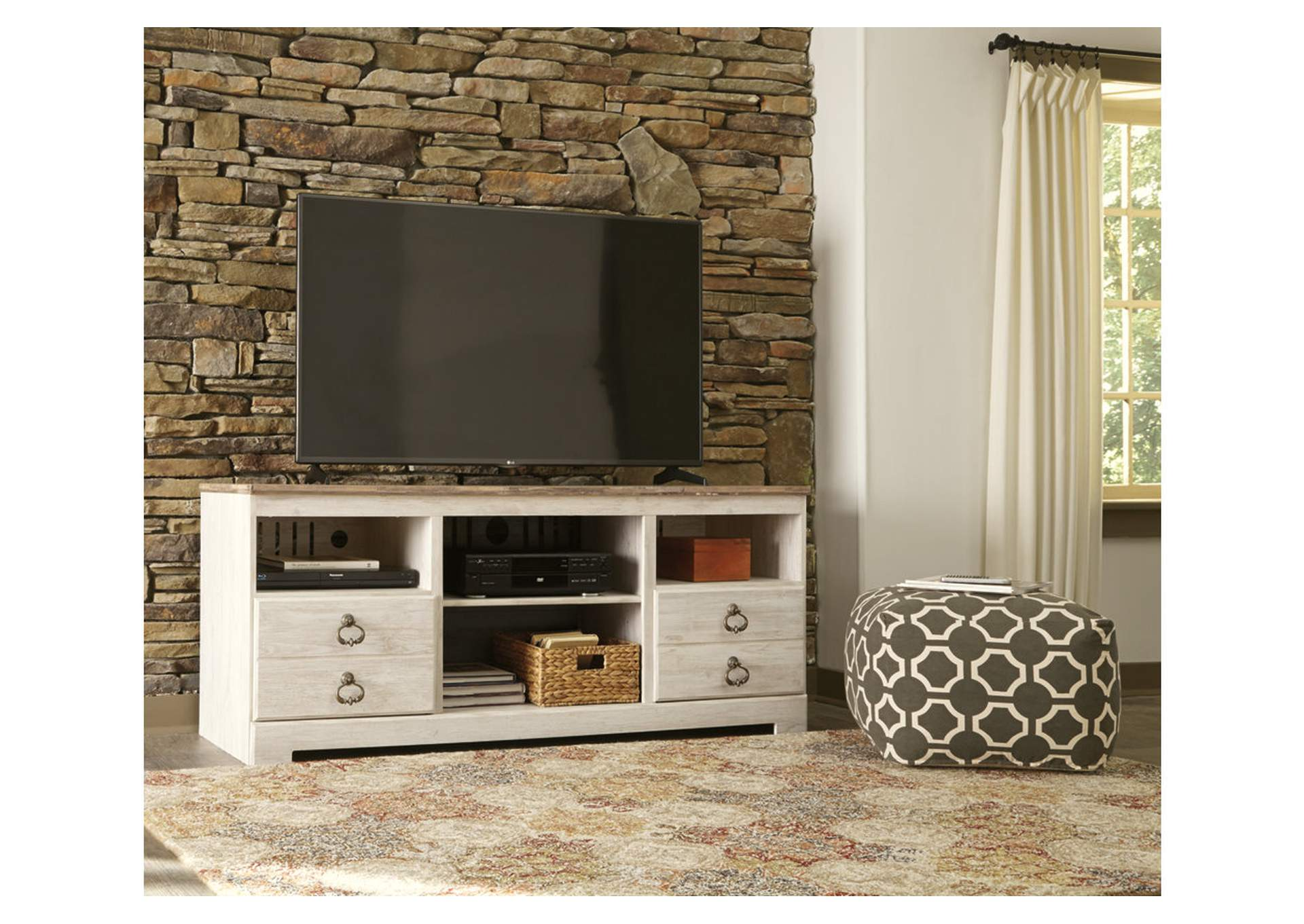 "Willowton Whitewash 64"" TV Stand,Signature Design By Ashley"