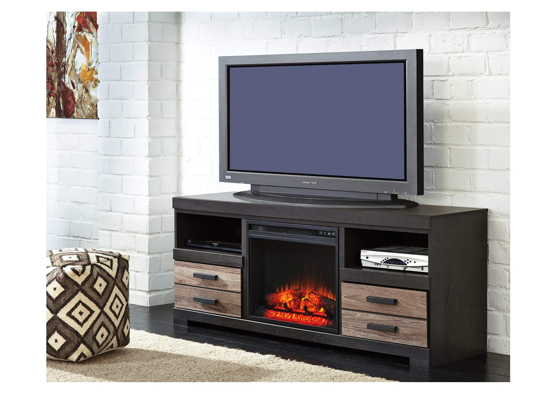 "Harlinton Warm Gray 63"" TV Stand w/Fireplace Insert Infrared,Signature Design By Ashley"
