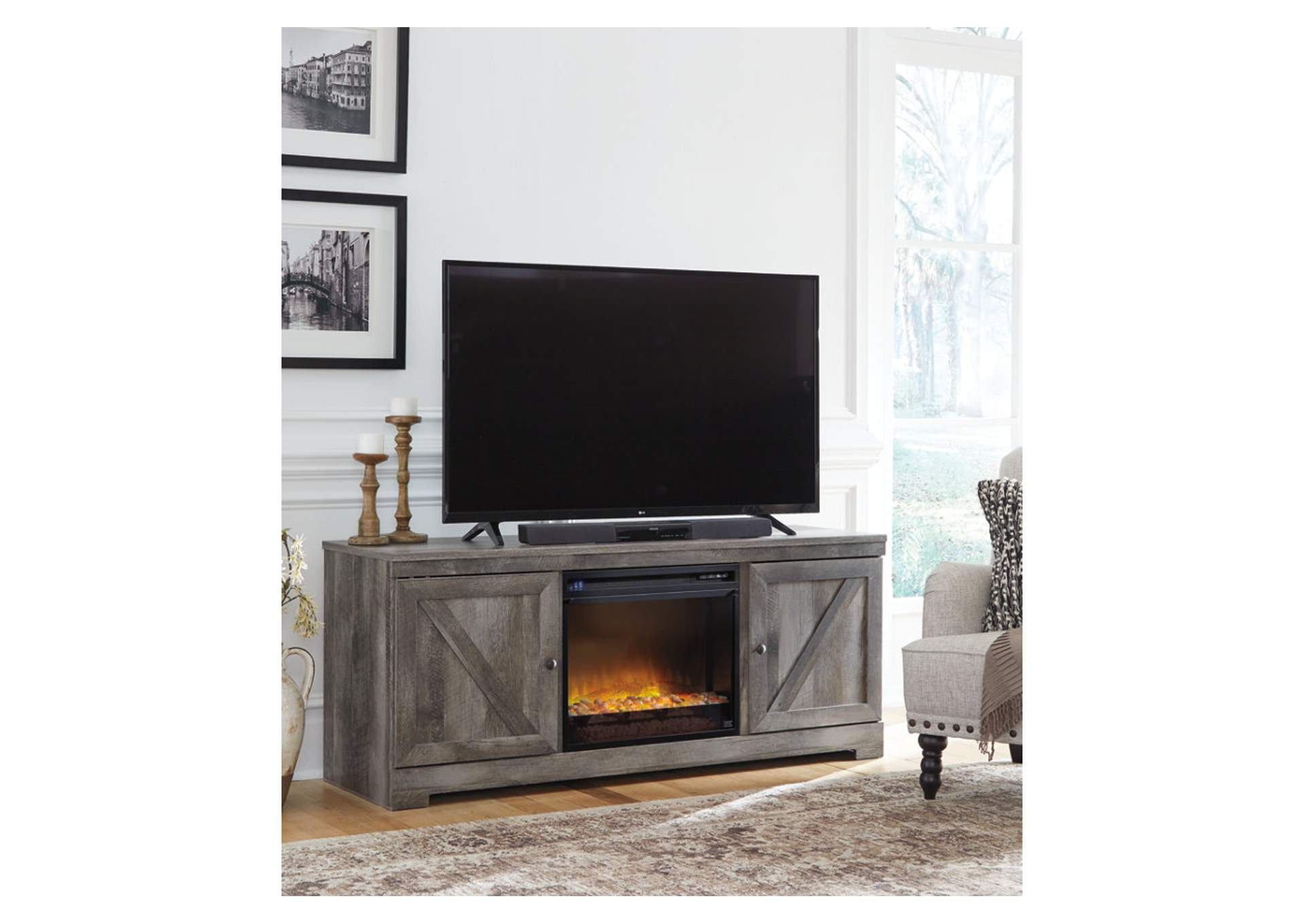 Wynnlow Gray LG TV Stand w/Black Glass/Stone Fireplace Insert,Signature Design By Ashley