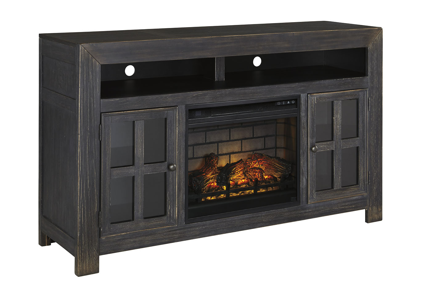 "Gavelston Black 61"" TV Stand w/Fireplace Insert Infrared,Signature Design By Ashley"