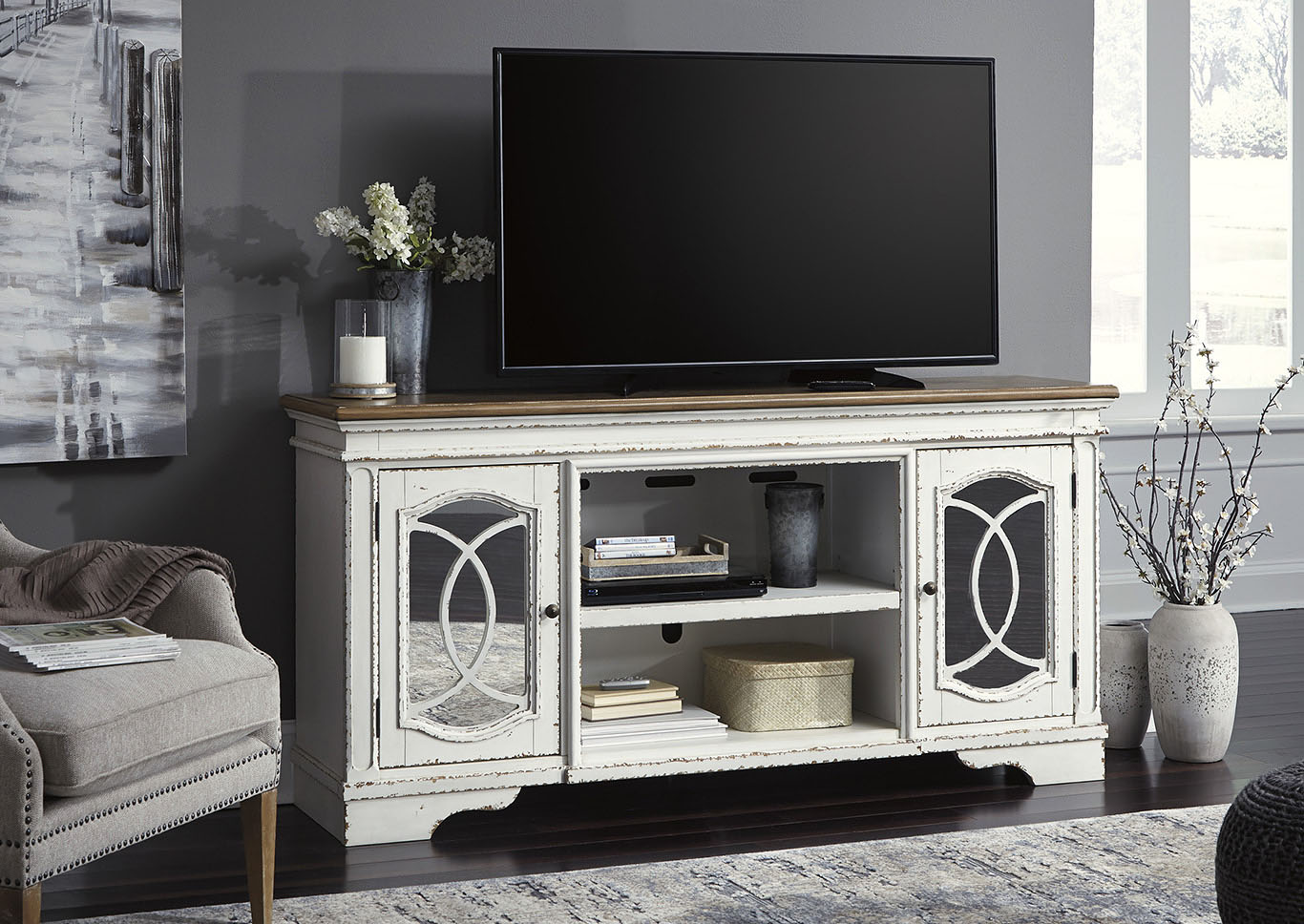 Realyn White XL TV Stand,Signature Design By Ashley